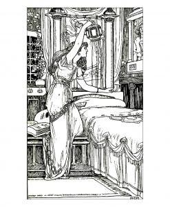 Coloriage adulte vintage dessin femme lampe
