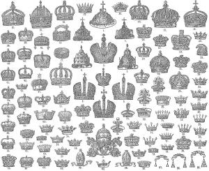 Coloriage couronnes rois reines