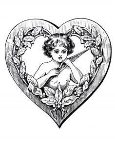 Coloriage vintage petit cupidon dans coeur