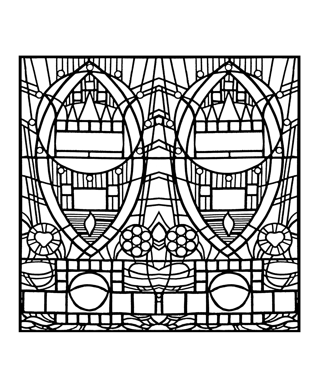 Coloriage pour adulte créé à partir d'une photo de vitrail : l'apparition bleue, chapelle Edegem (aujourd'hui disparue) - version carrée
