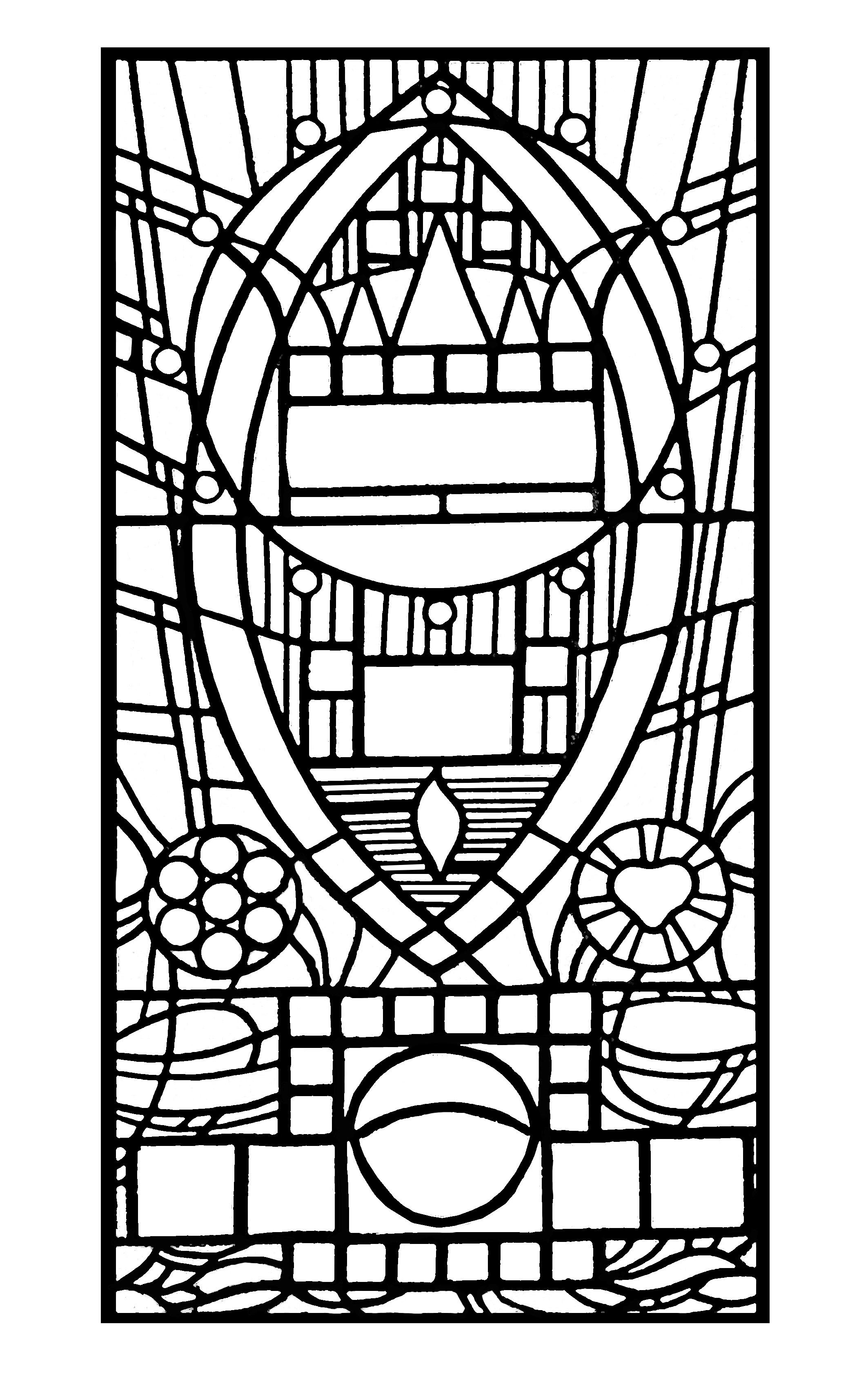 Coloriage pour adulte créé à partir d'une photo de vitrail : l'apparition bleue, chapelle Edegem (aujourd'hui disparue)
