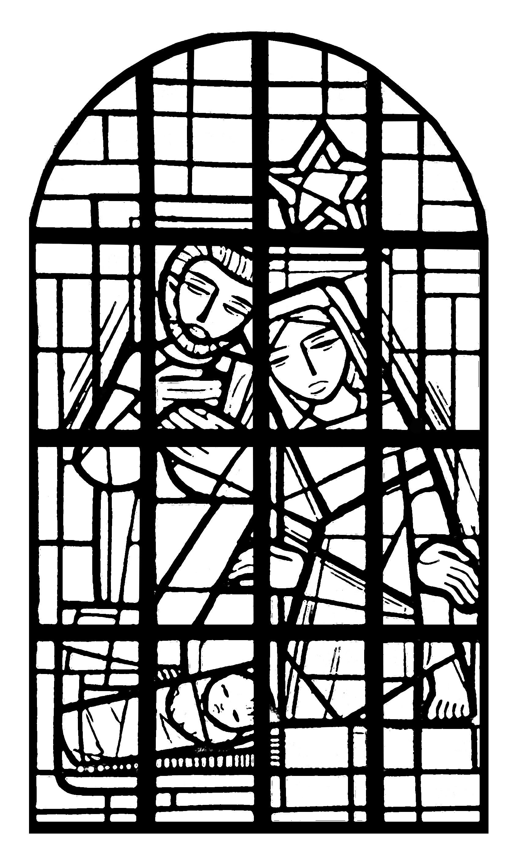 Coloriage exclusif créé à partir d'un vitrail présent dans la nef de l'église de l'Immaculée Conception, à Mangombroux (Verviers), France