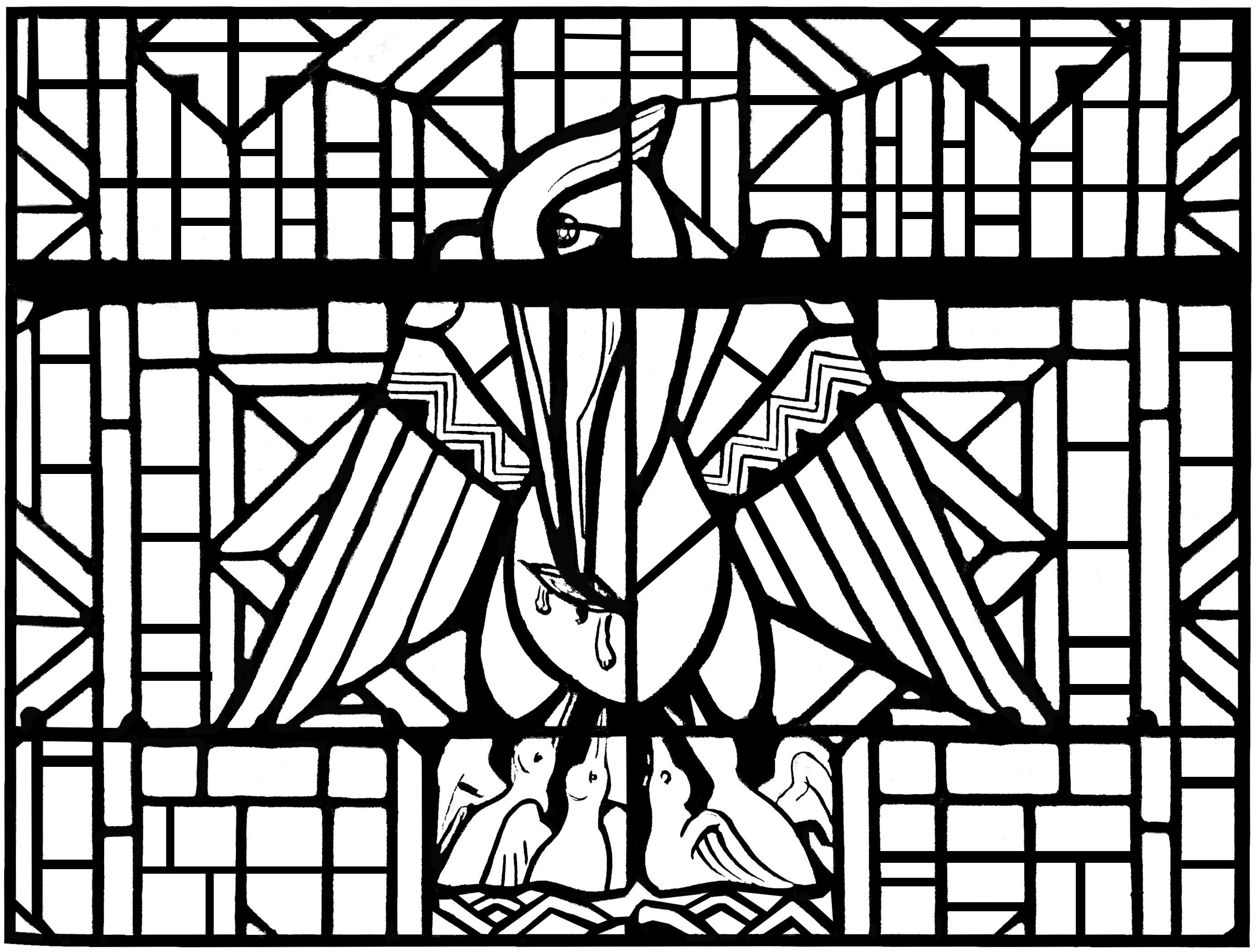 Un coloriage créé à partir d'un vitrail moderne représentant un Pélican, Eglise d'Arthon en Retz - Version complexe