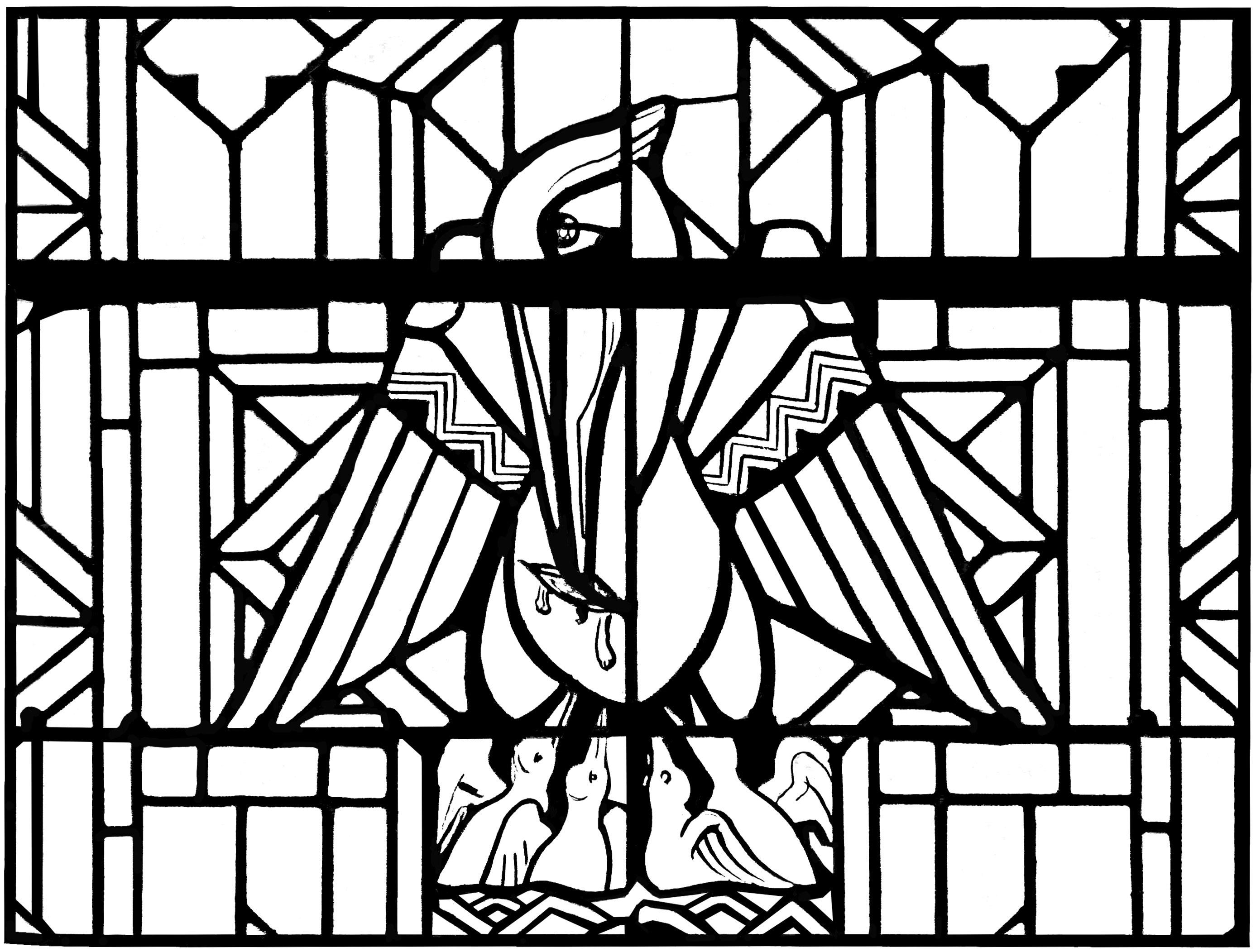 Un coloriage créé à partir d'un vitrail moderne représentant un Pélican, Eglise d'Arthon en Retz