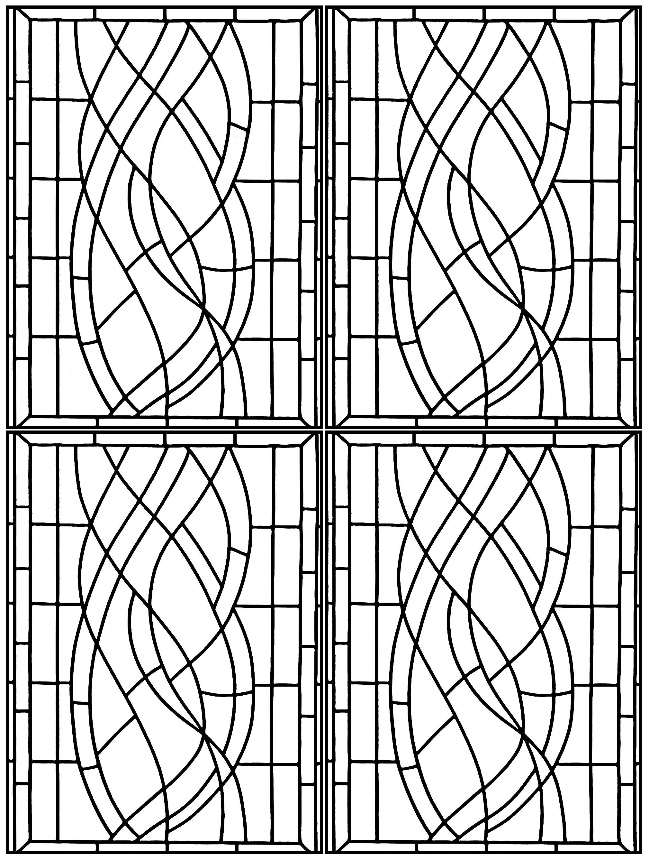 Coloriage créé à partir d'un vitrail Art Deco repéré dans un Hôtel à Madrid (version très complexe)