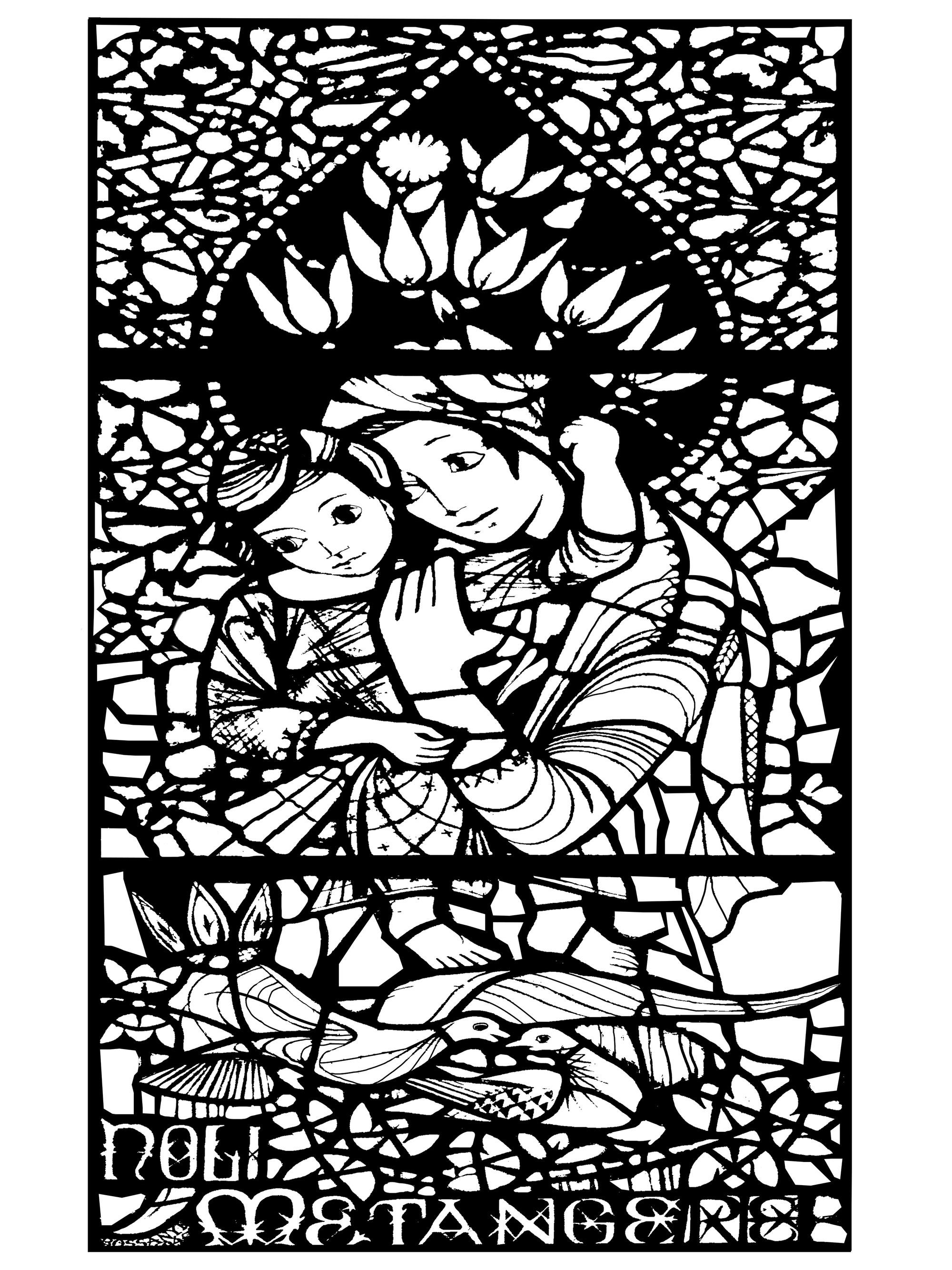Coloriage créé à partir d'un vitrail réalisé en 1946 par Ervin Bossanyi : Noli Me Tangere