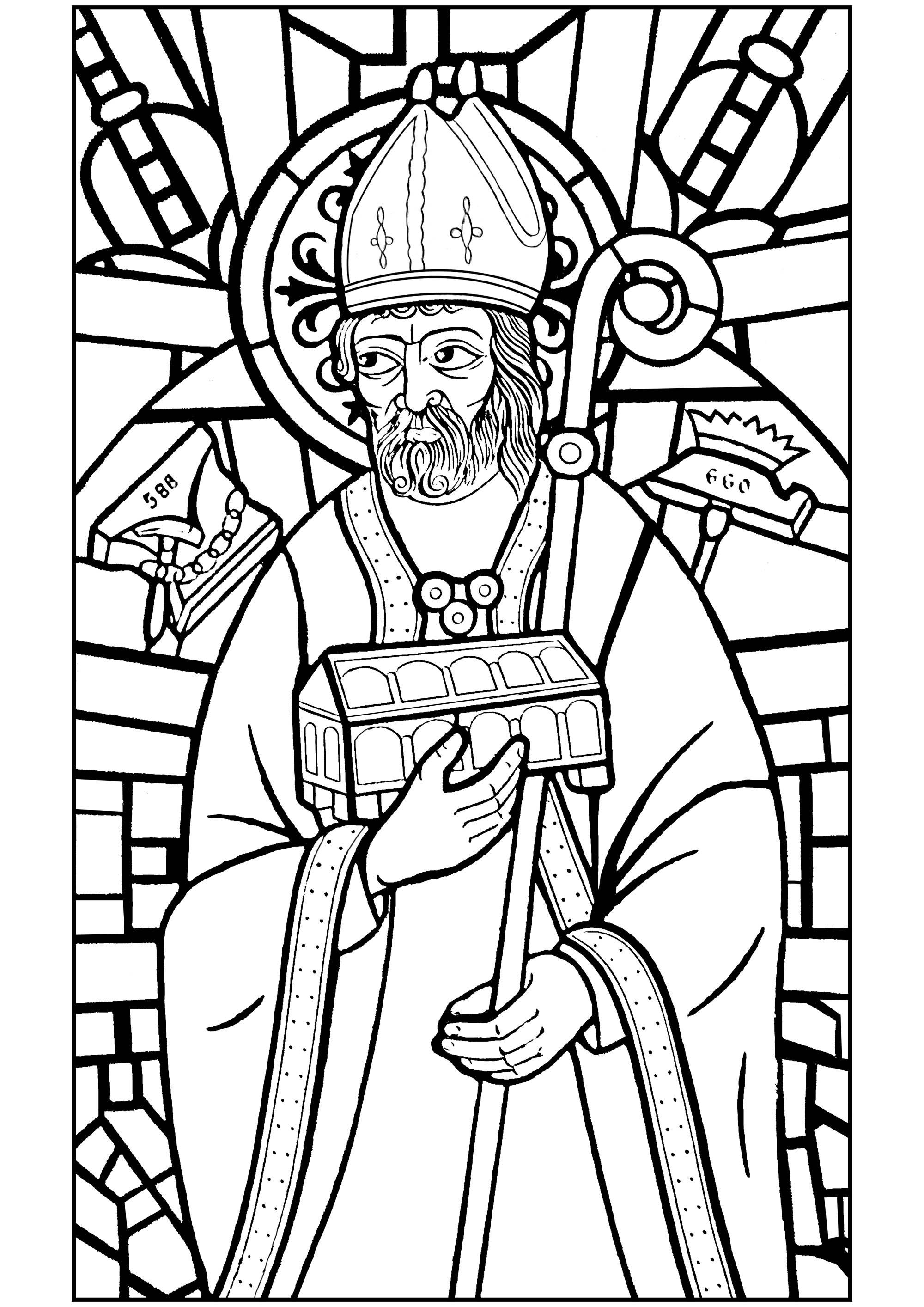 Saint Éloi est le patron de tous les artisans qui travaillent le métal : maréchal ferrant, charron, forgeron, cloutier, serrurier, taillandier... Il est souvent représenté avec des tenailles et un marteau, une enclume et un fer à cheval. Voici un vitrail le représentant, transformé en coloriage.