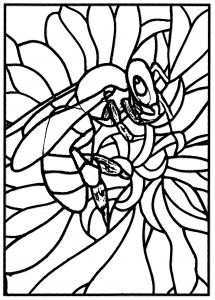 Coloriage adulte vitrail abeille atelier jb tosi 2010