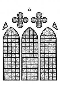 coloriage-adulte-vitrail-chapelle-chateau-yverdon-les-bains-france-version-2 free to print