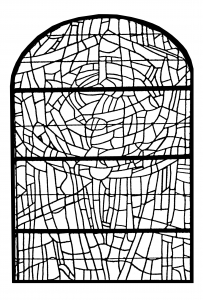 Coloriage adulte vitrail choeur eglise paroissale saint servant sur oust france version 3