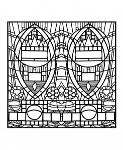 coloriage-adulte-vitrail-de-l-apparition-bleue-edegem-version-carree free to print