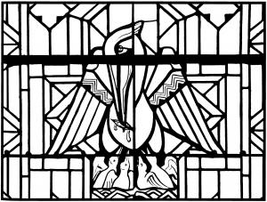 coloriage adulte vitrail pelican eglise arthon en retz 20es