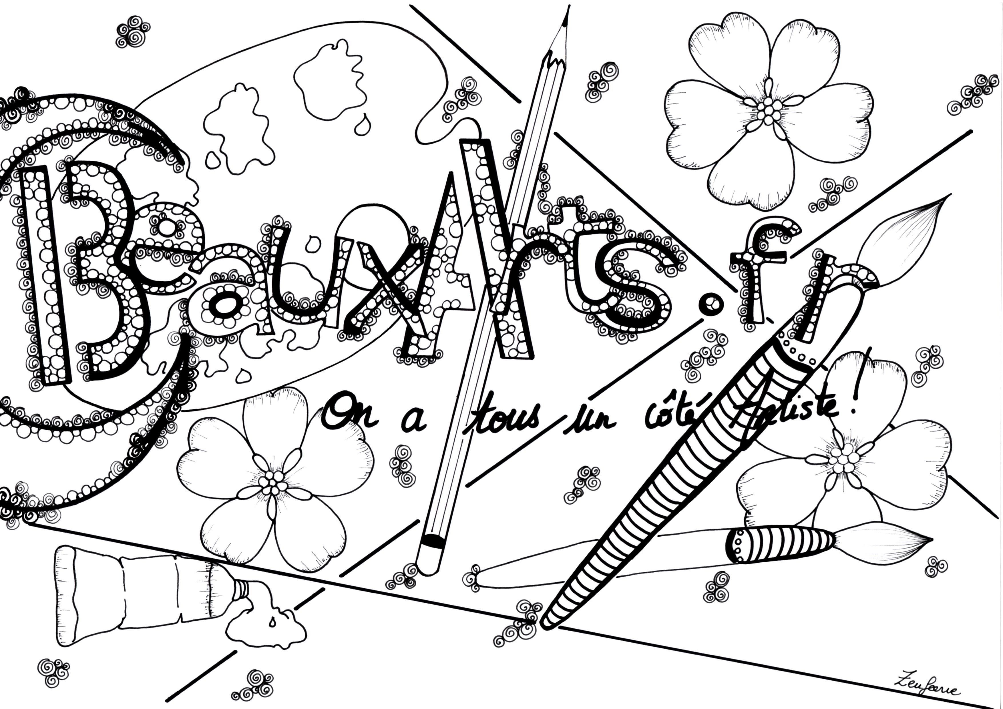 Coloriage pour le site BeauxArts.fr, style Zentangle