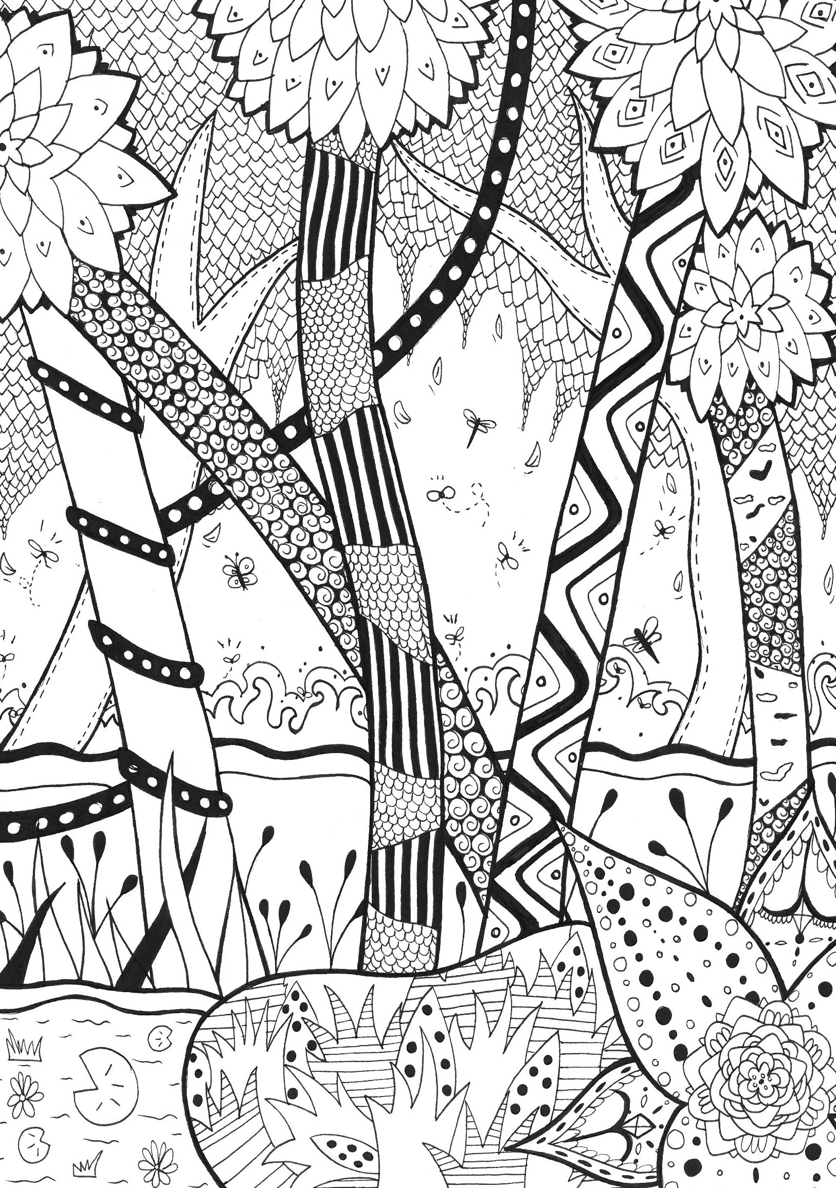 coloriage adulte foret zentangle rachel free to print