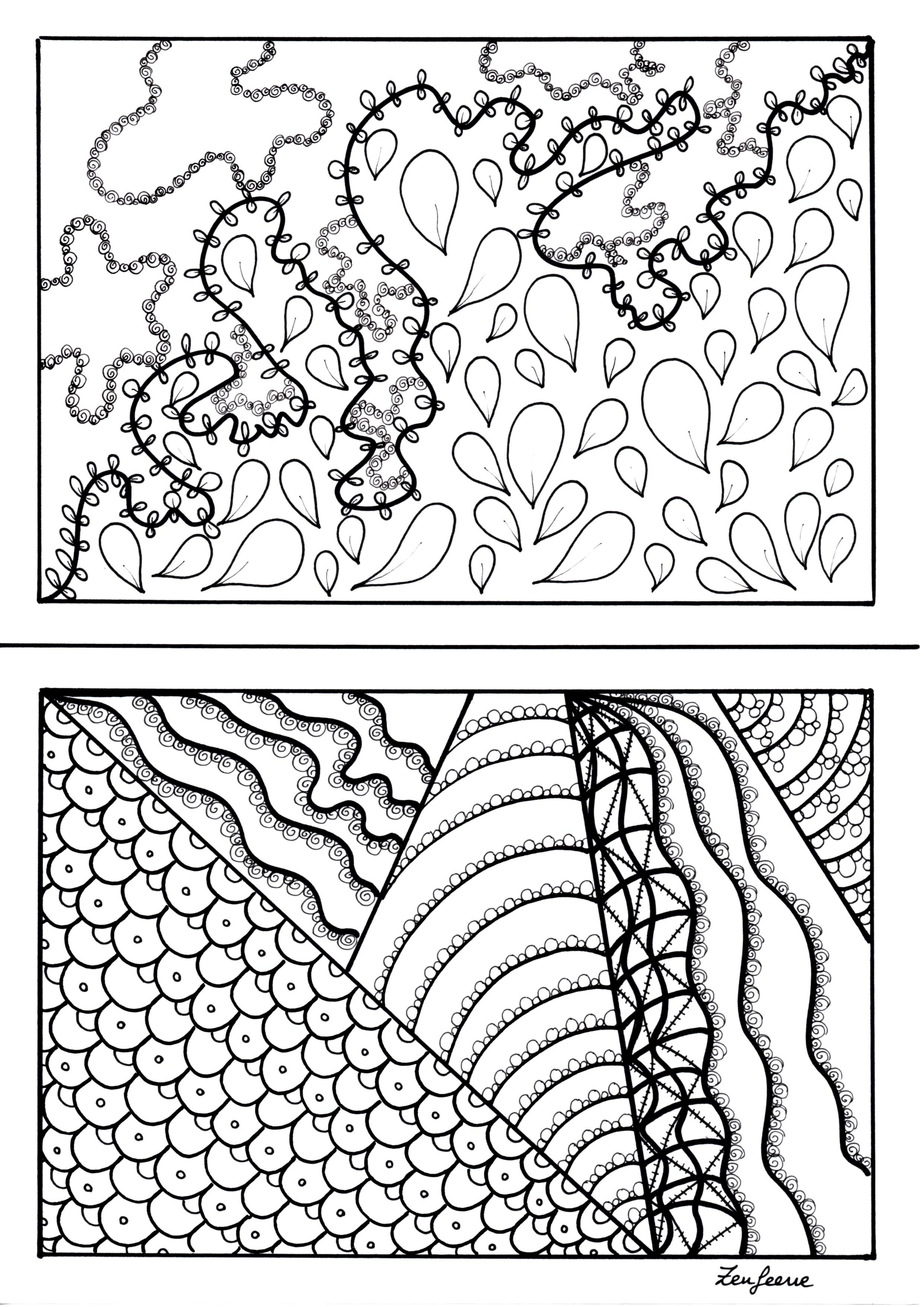 2 coloriages format A5, style Zentangle
