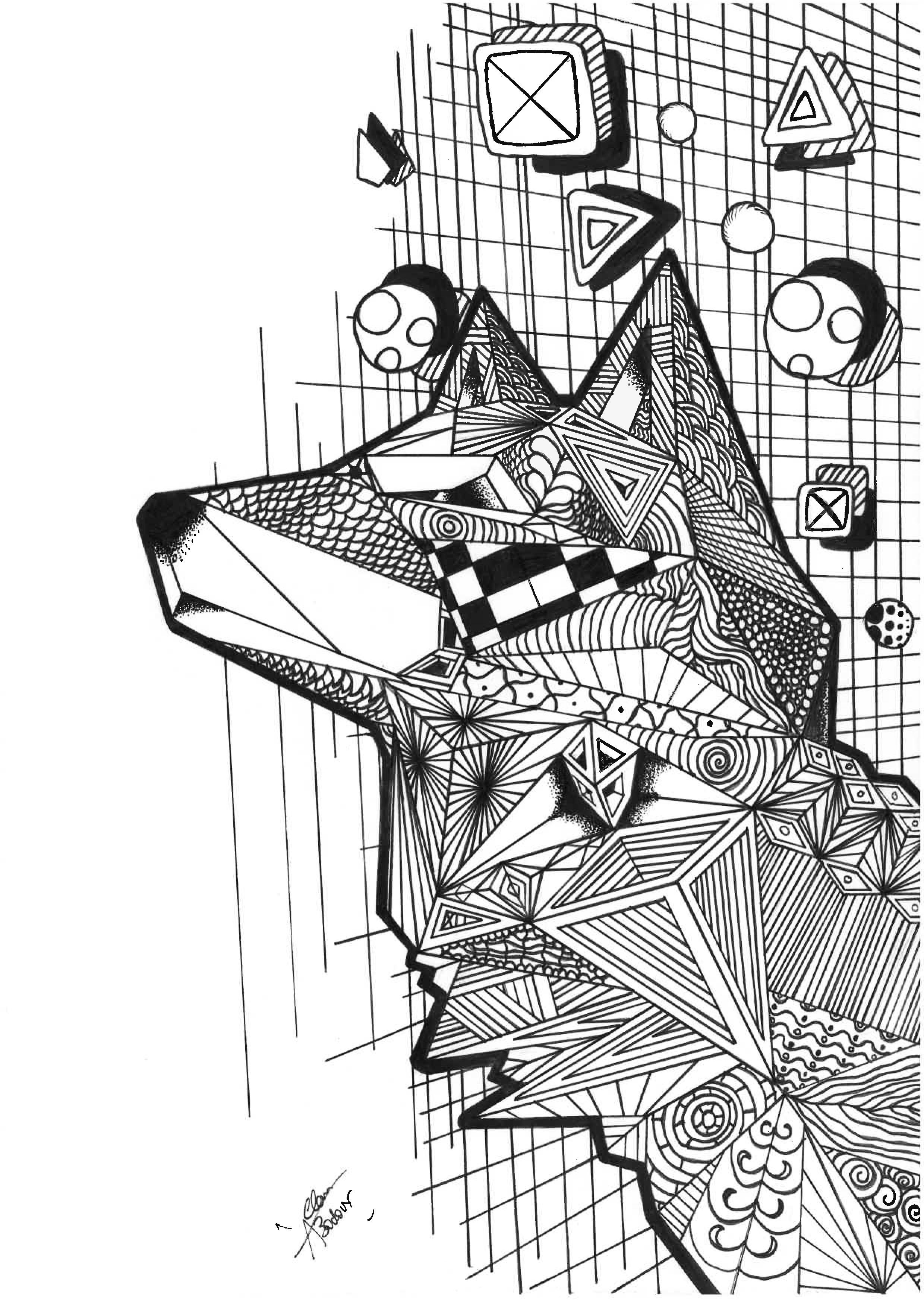 Coloriage d'un loup façon zentangle et cubique
