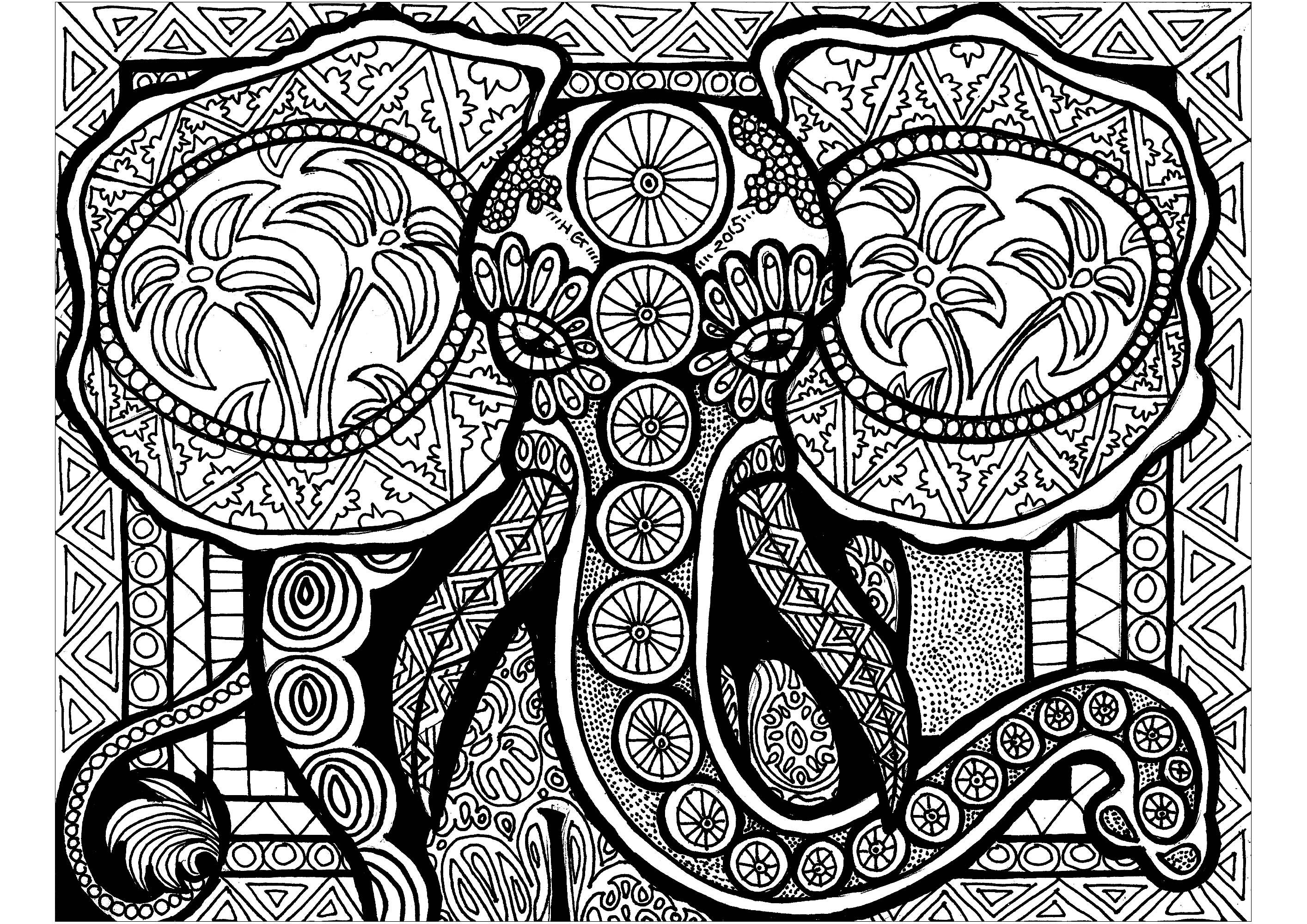 Ce majestueux éléphant manque juste de quelques couleurs.