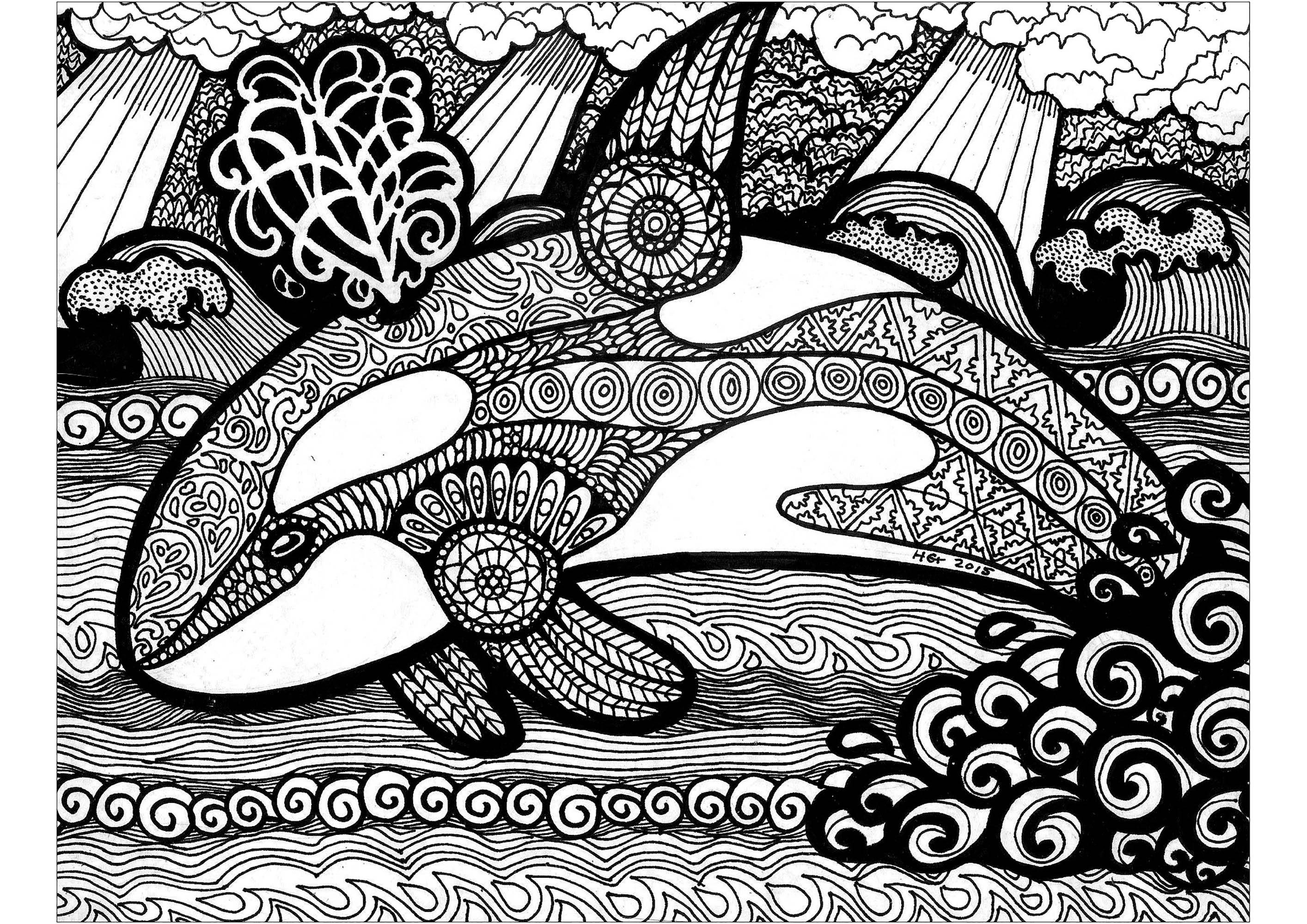 Plongez dans une baignade de coloriage avec ce splendide orque.
