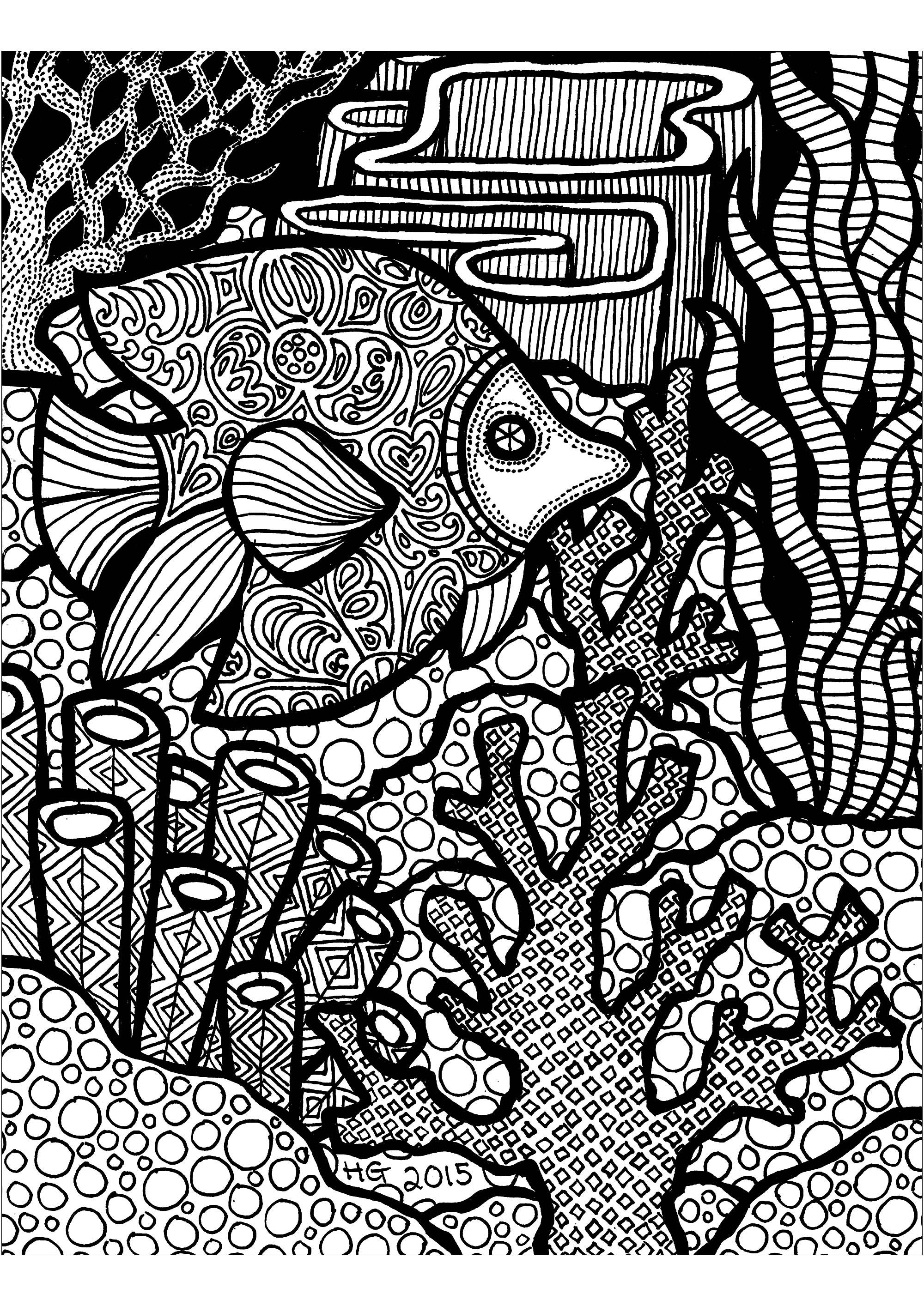 Découvrez ce récif Zentangle et son magnifique poisson.