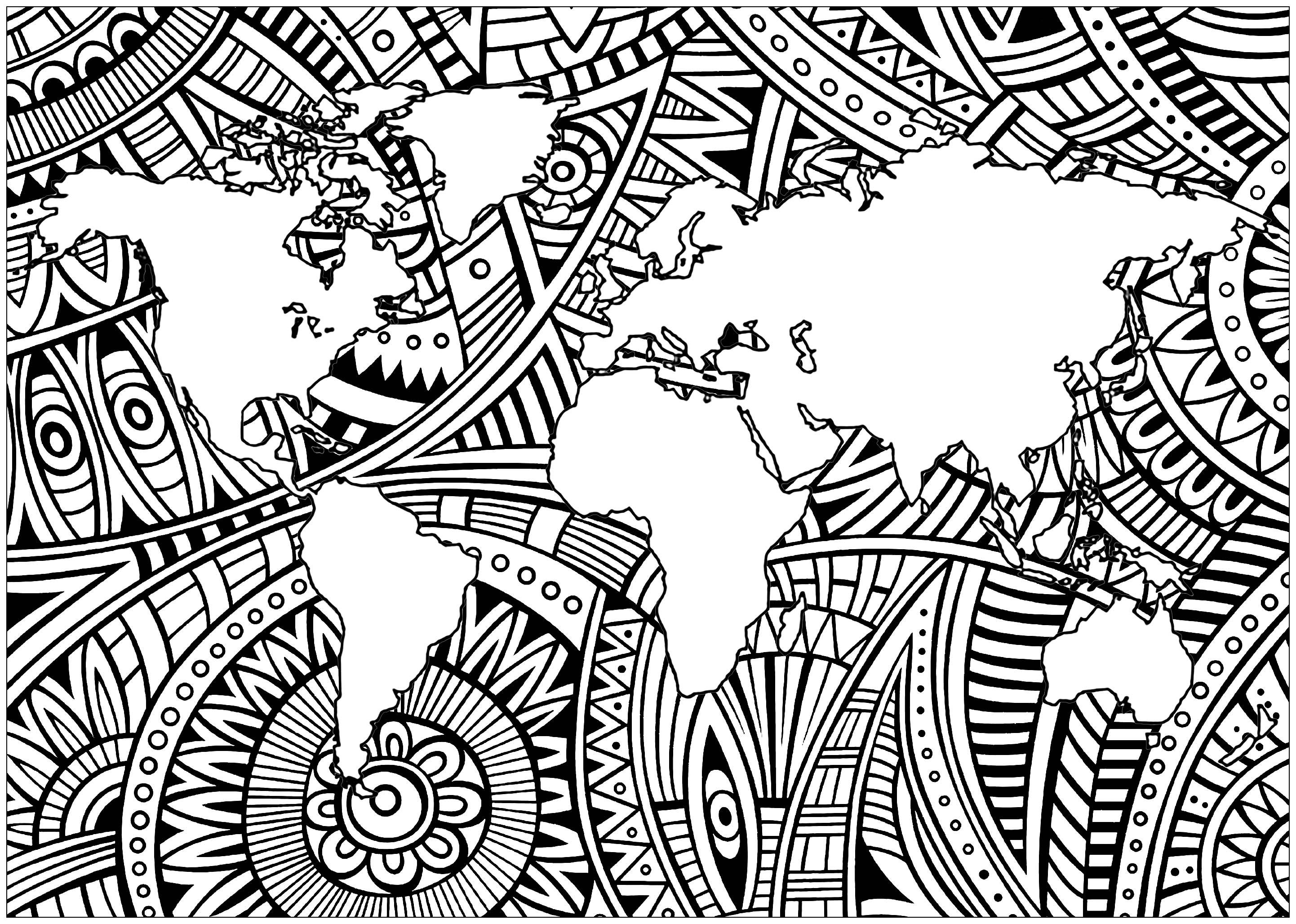 La Terre et des motifs Zentangle simples (dans les mers)