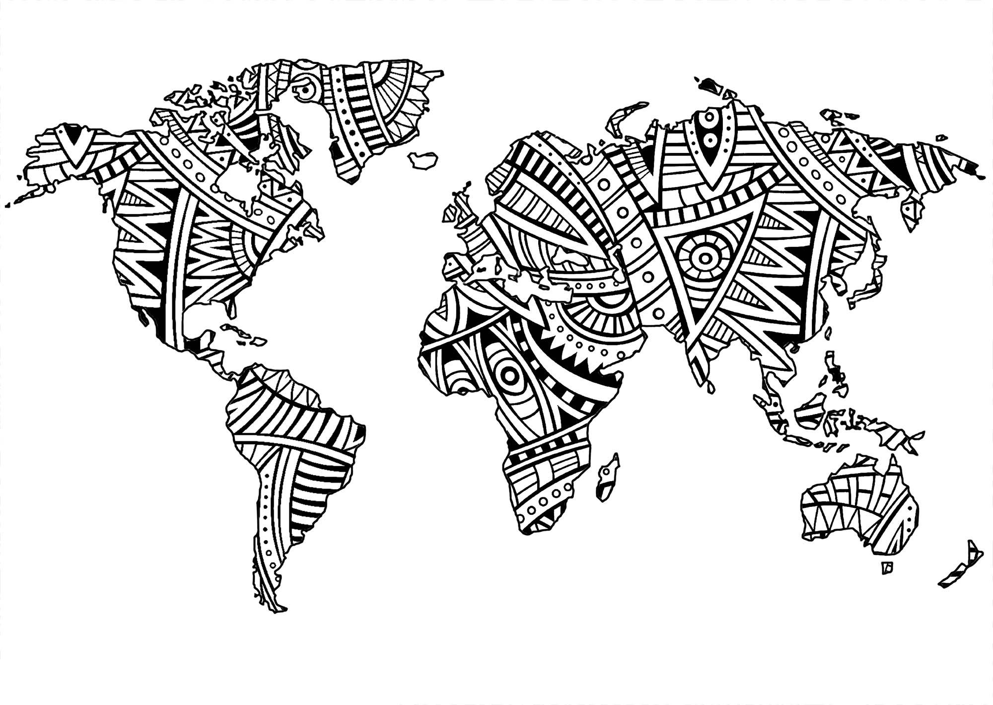 La Terre et des motifs Zentangle simples (dans les continents)