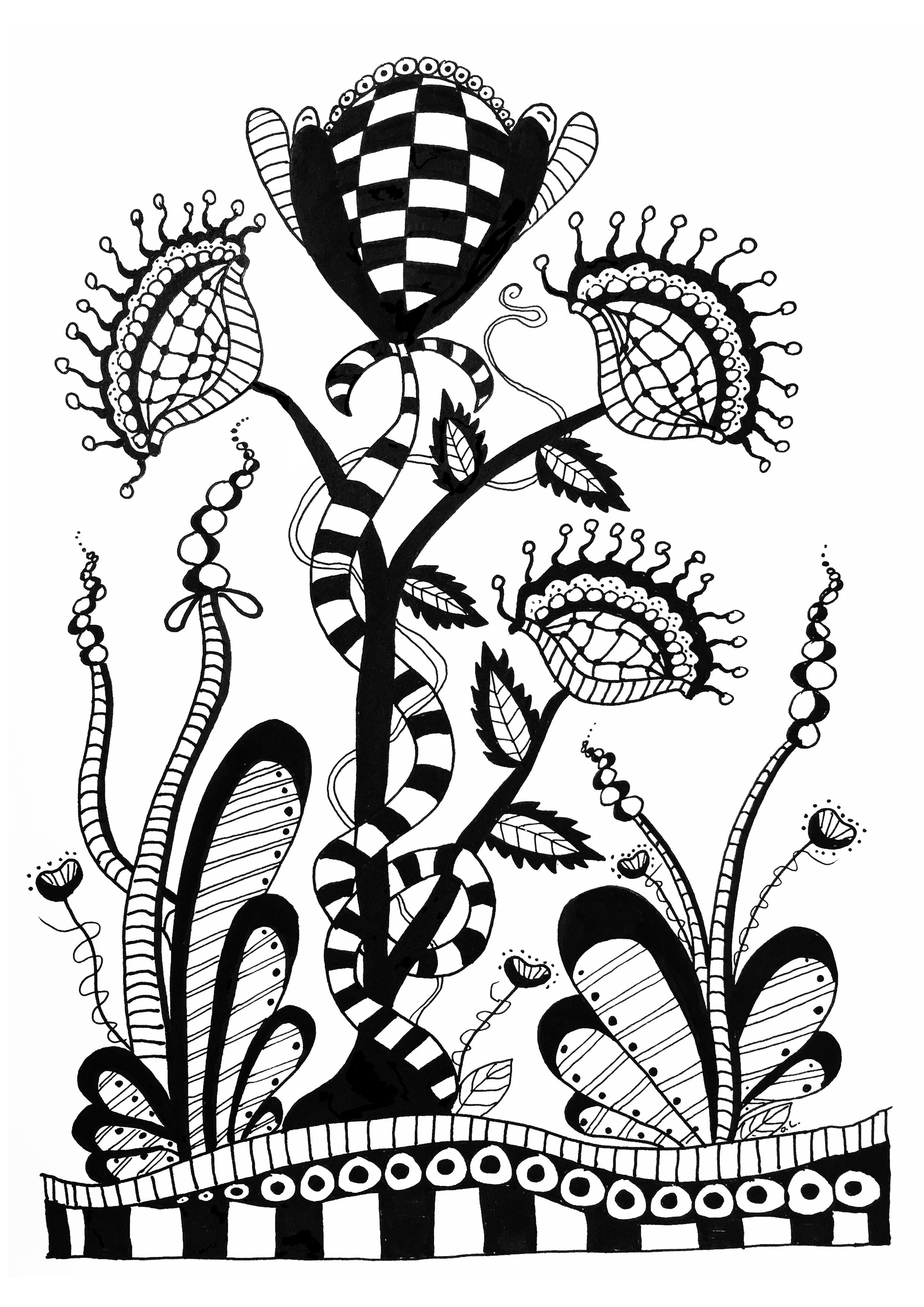 Fleurs sauvages, Zentangle à colorier