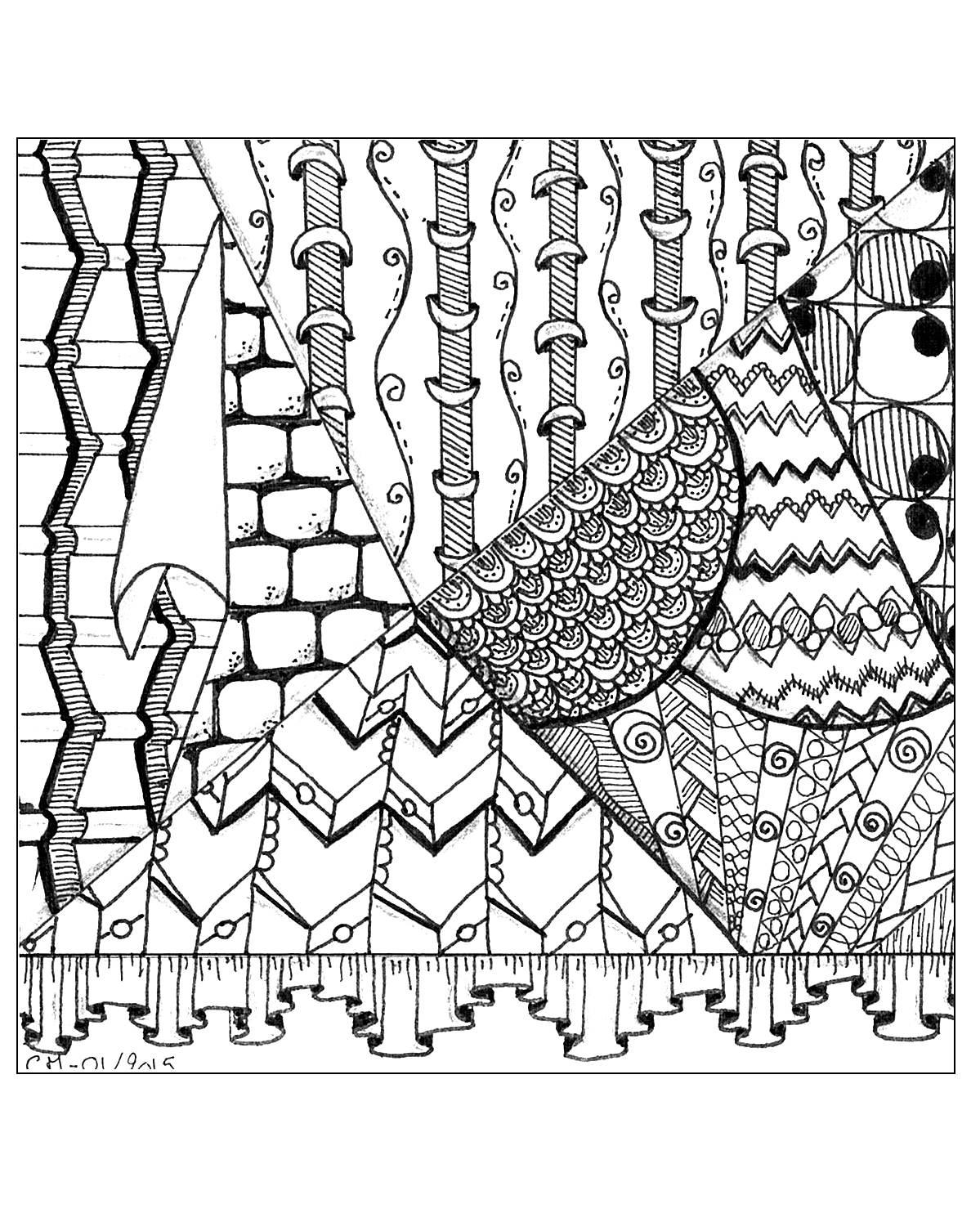 'Illusion n°2', coloriage original style ZentangleVoir l'oeuvre originale
