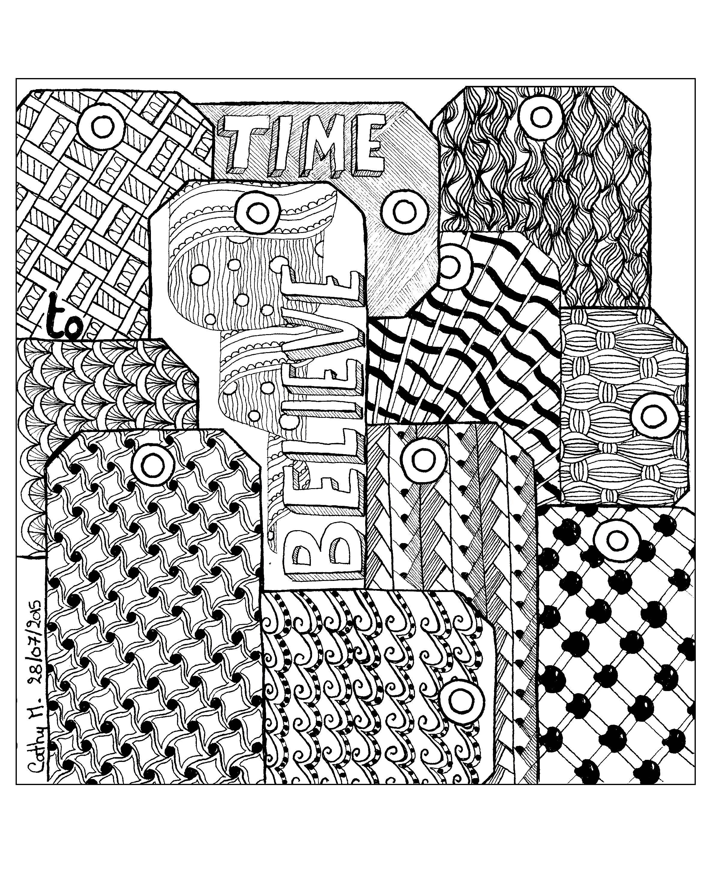'Time to believe ', coloriage original style Zentangle  Voir l'oeuvre originale