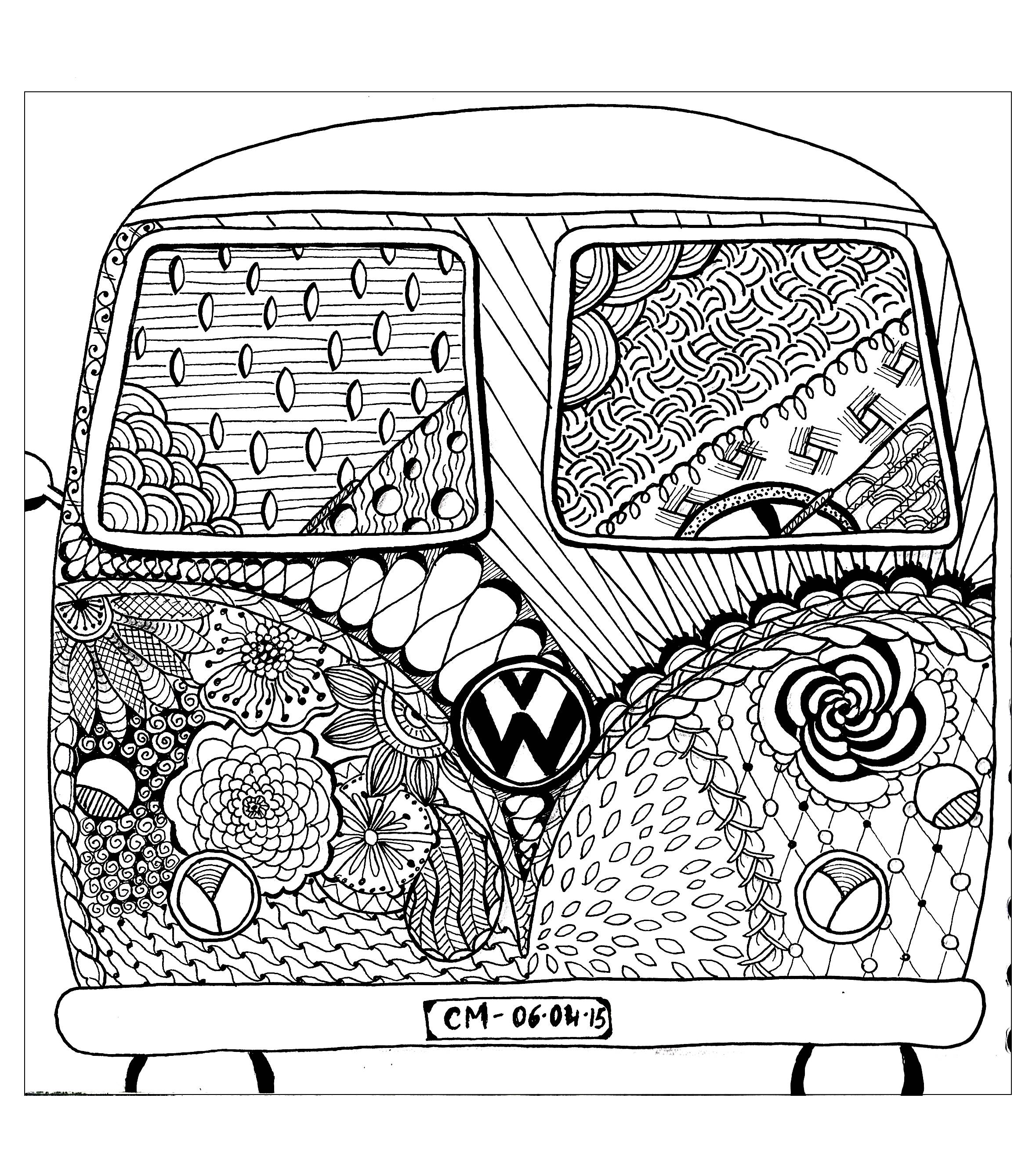 'Hippie camper', coloriage original style Zentangle  Voir l'oeuvre originale