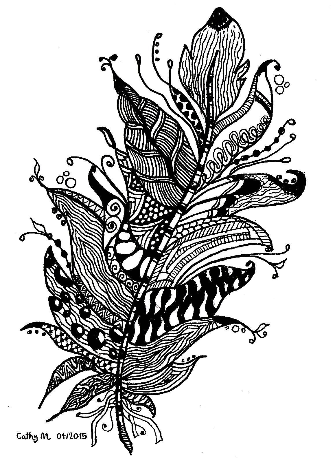 'Plume fantaisie', coloriage original style Zentangle  Voir l'oeuvre originale