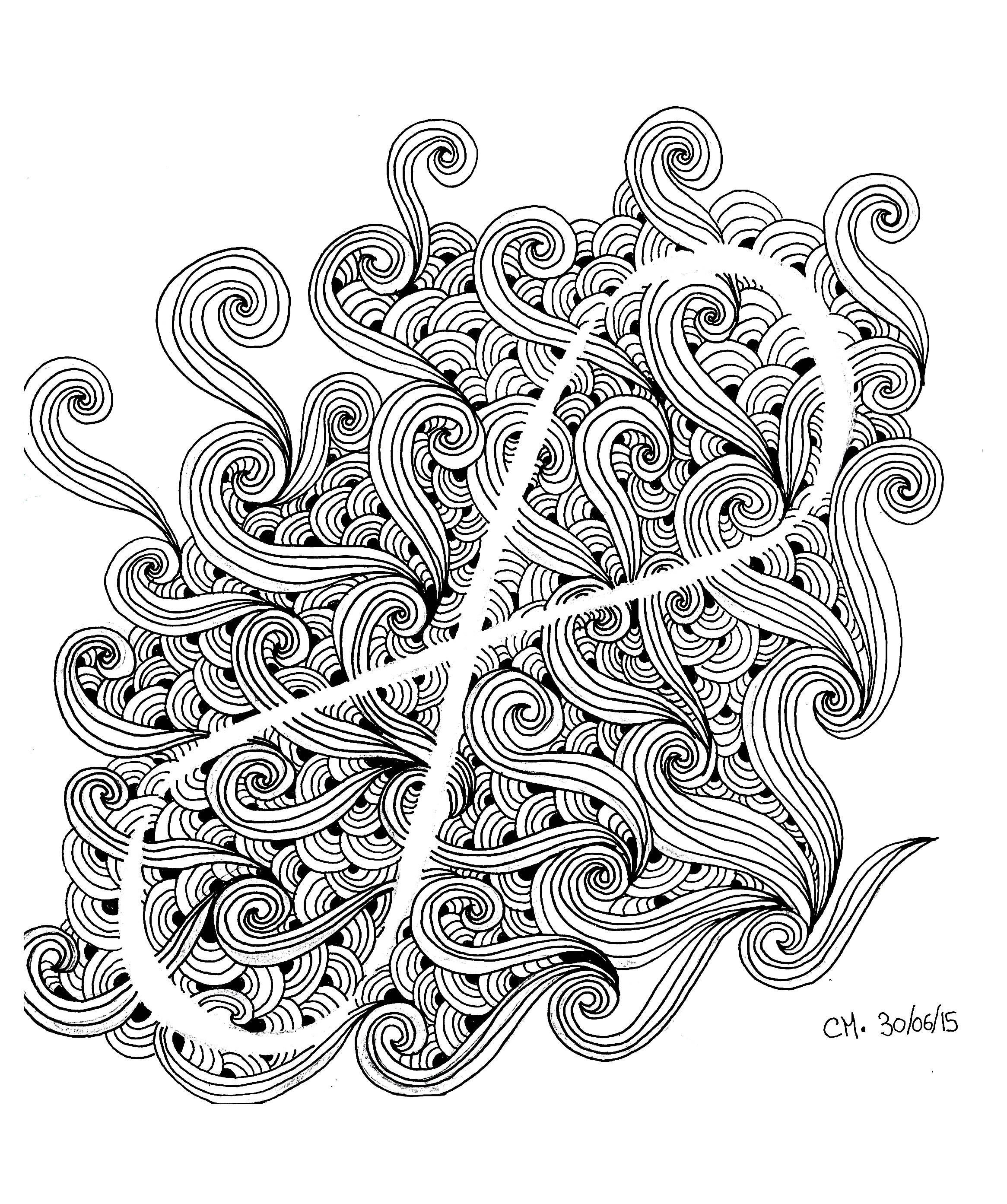 Zentangle par cathym 15 zentangle coloriages difficiles pour adultes - Coloriage relief ...