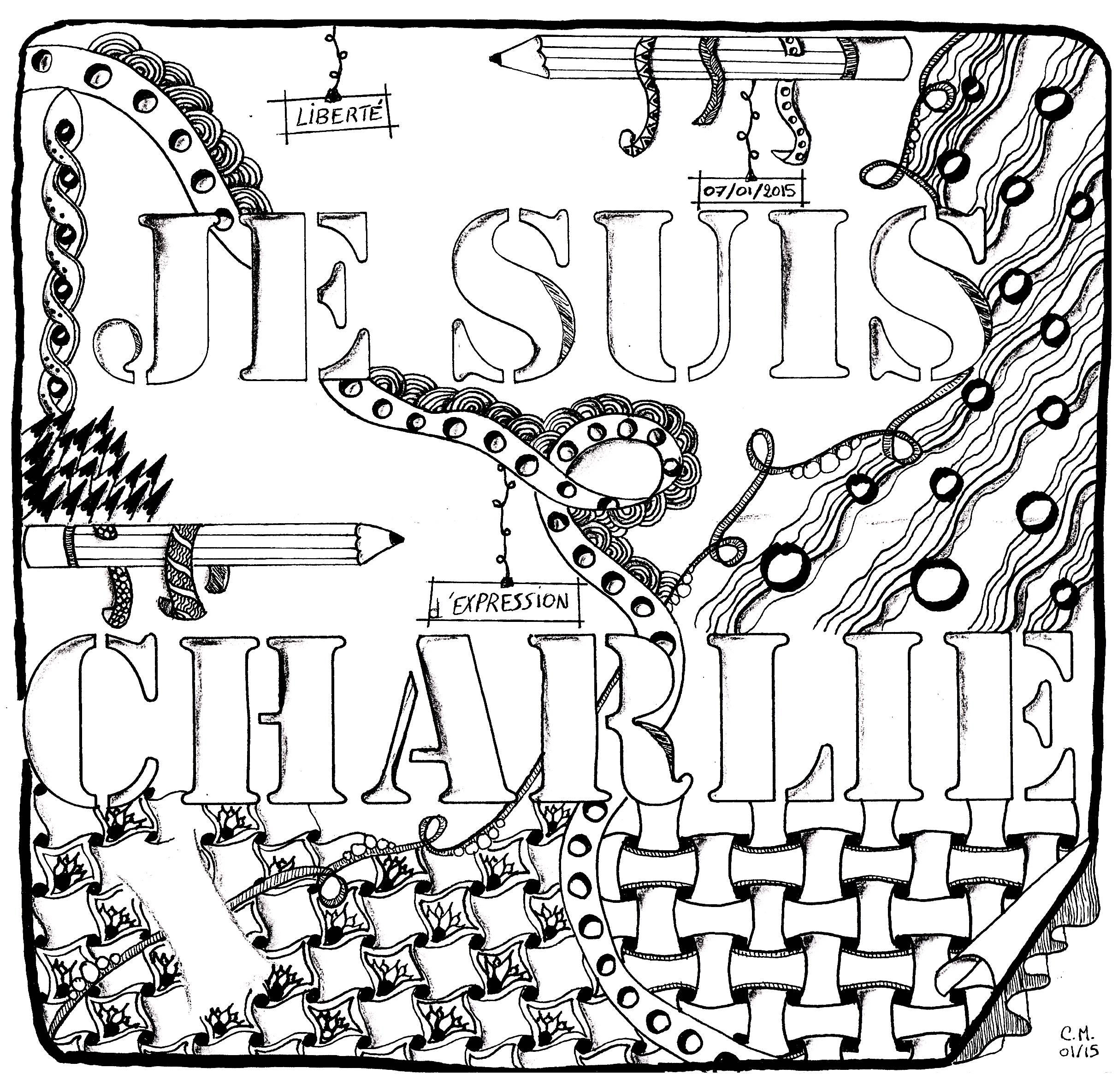 'Hommage à Charlie Hebdo', coloriage original style Zentangle  Voir l'oeuvre originale