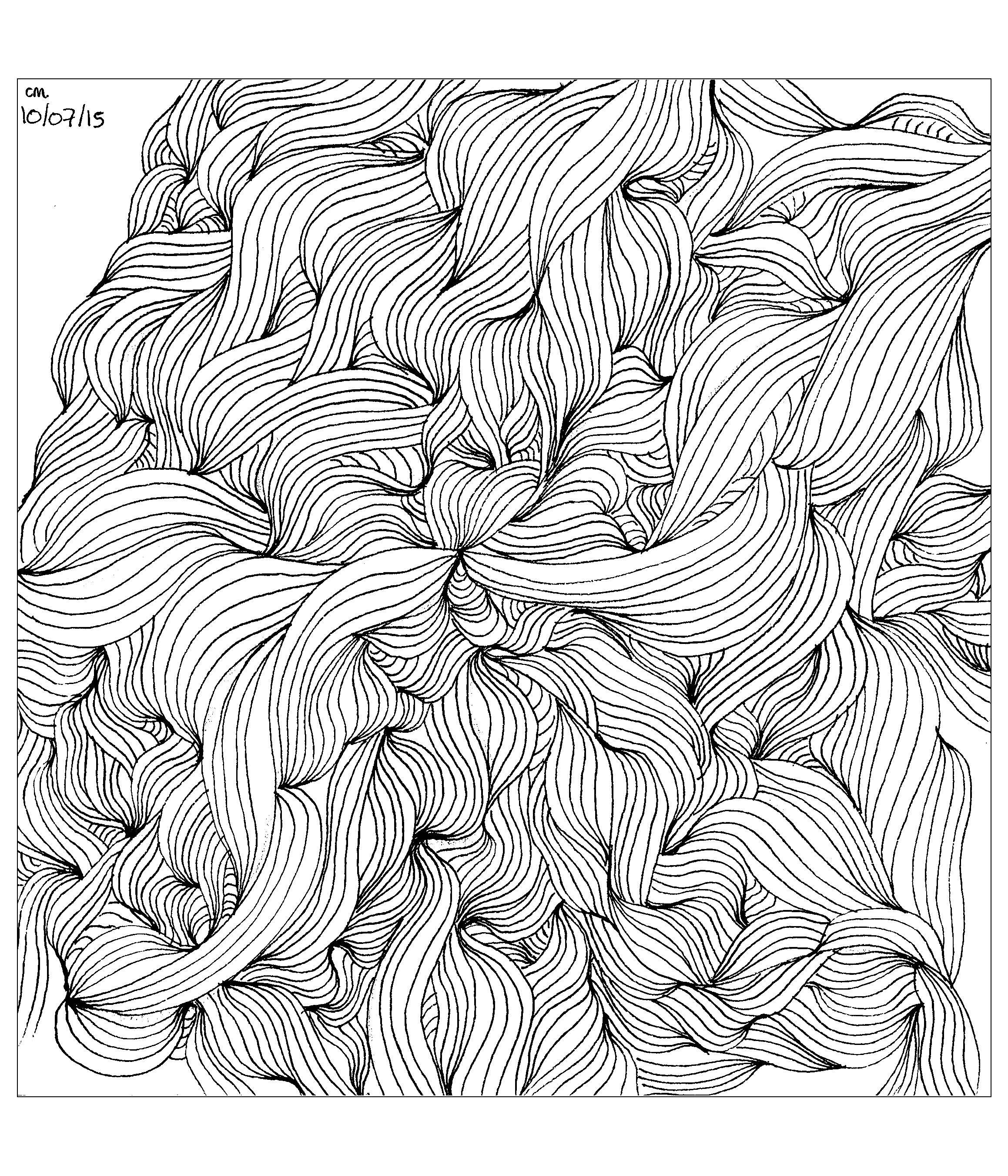 'Tangle Lines', coloriage original style Zentangle  Voir l'oeuvre originale