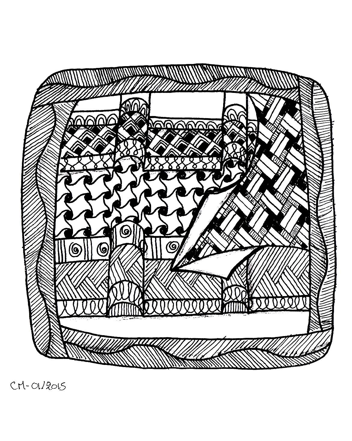 'Some tangles', coloriage original style Zentangle  Voir l'oeuvre originale