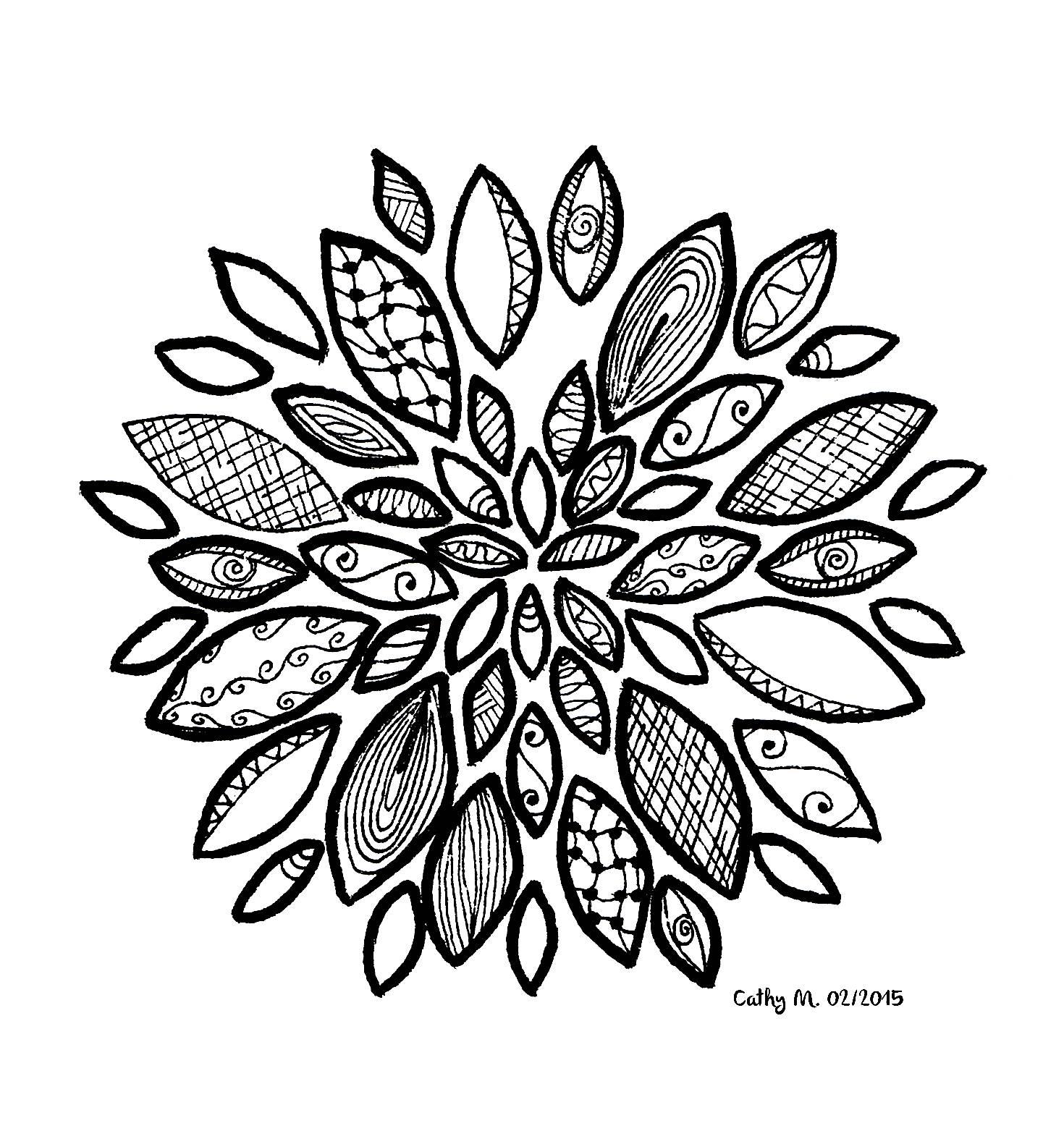 'Fleur imaginaire', coloriage original style Zentangle  Voir l'oeuvre originale