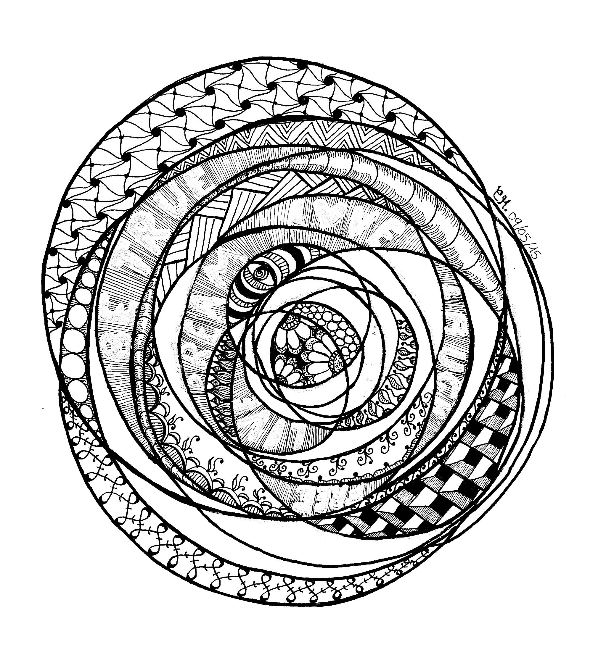 'Etre vrai', coloriage original style Zentangle  Voir l'oeuvre originale