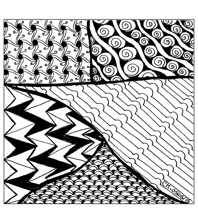 'Illusion', coloriage original style Zentangle  Voir l'oeuvre originale