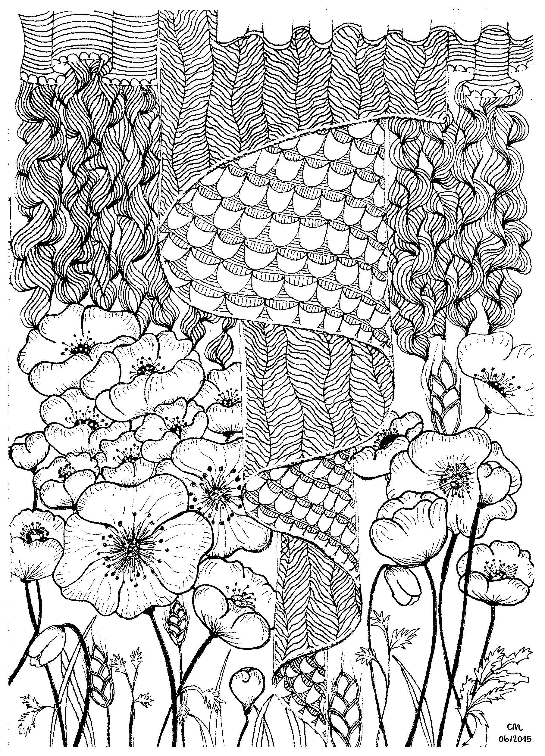'Poppies', coloriage original style Zentangle  Voir l'oeuvre originale
