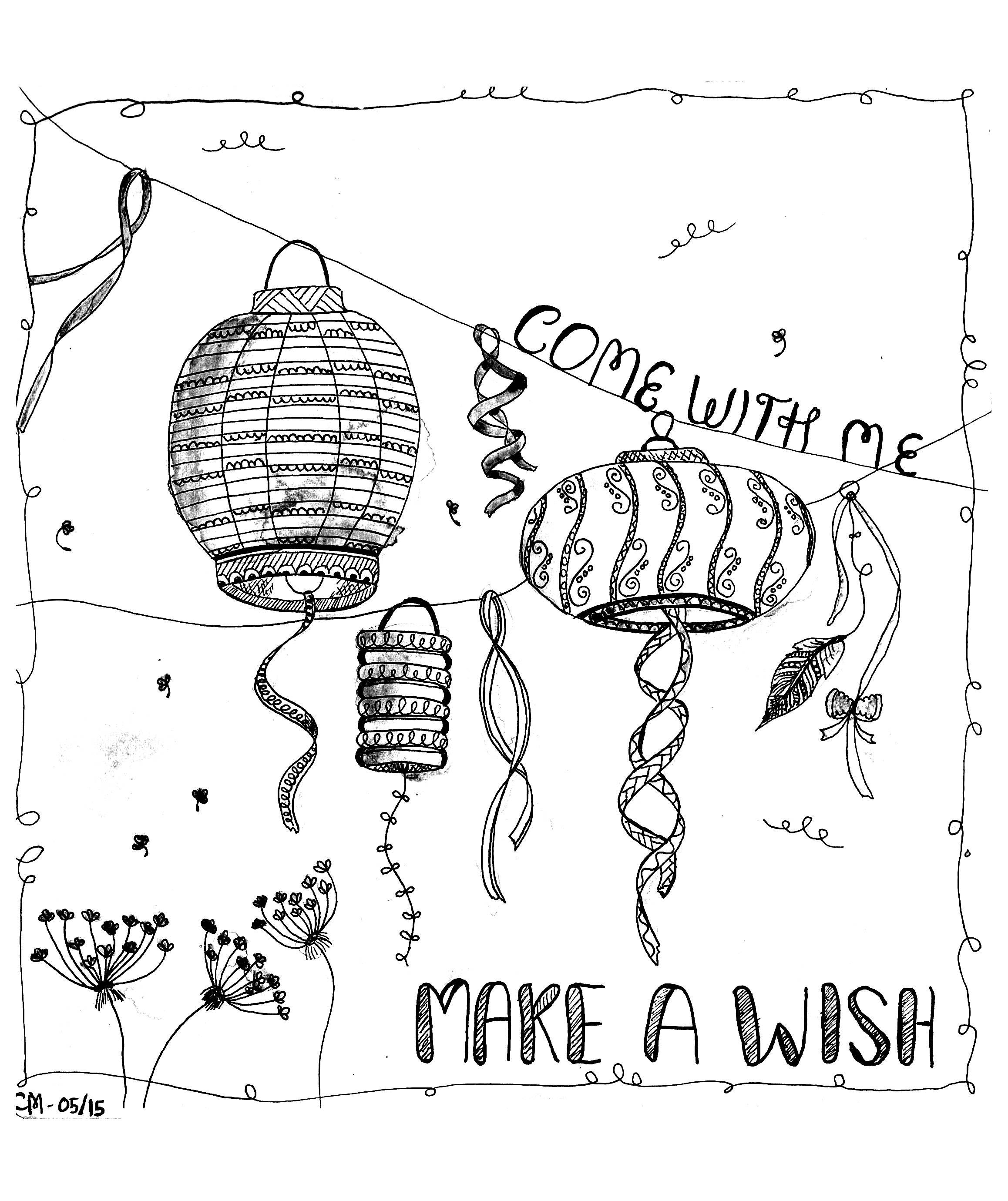 'Fais un vœu', coloriage original style Zentangle  Voir l'oeuvre originale