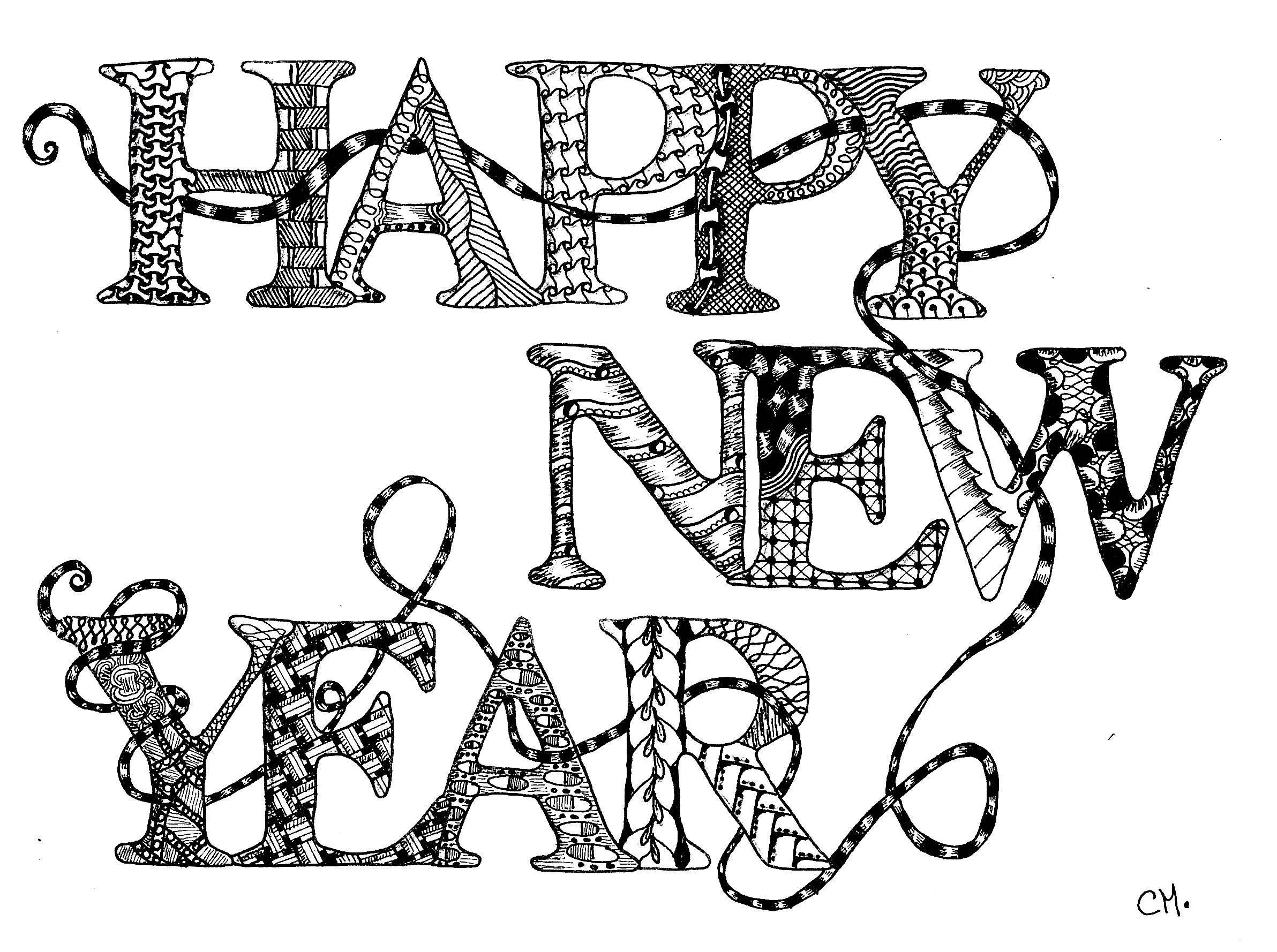 'Bonne année', coloriage original style Zentangle  Voir l'oeuvre originale