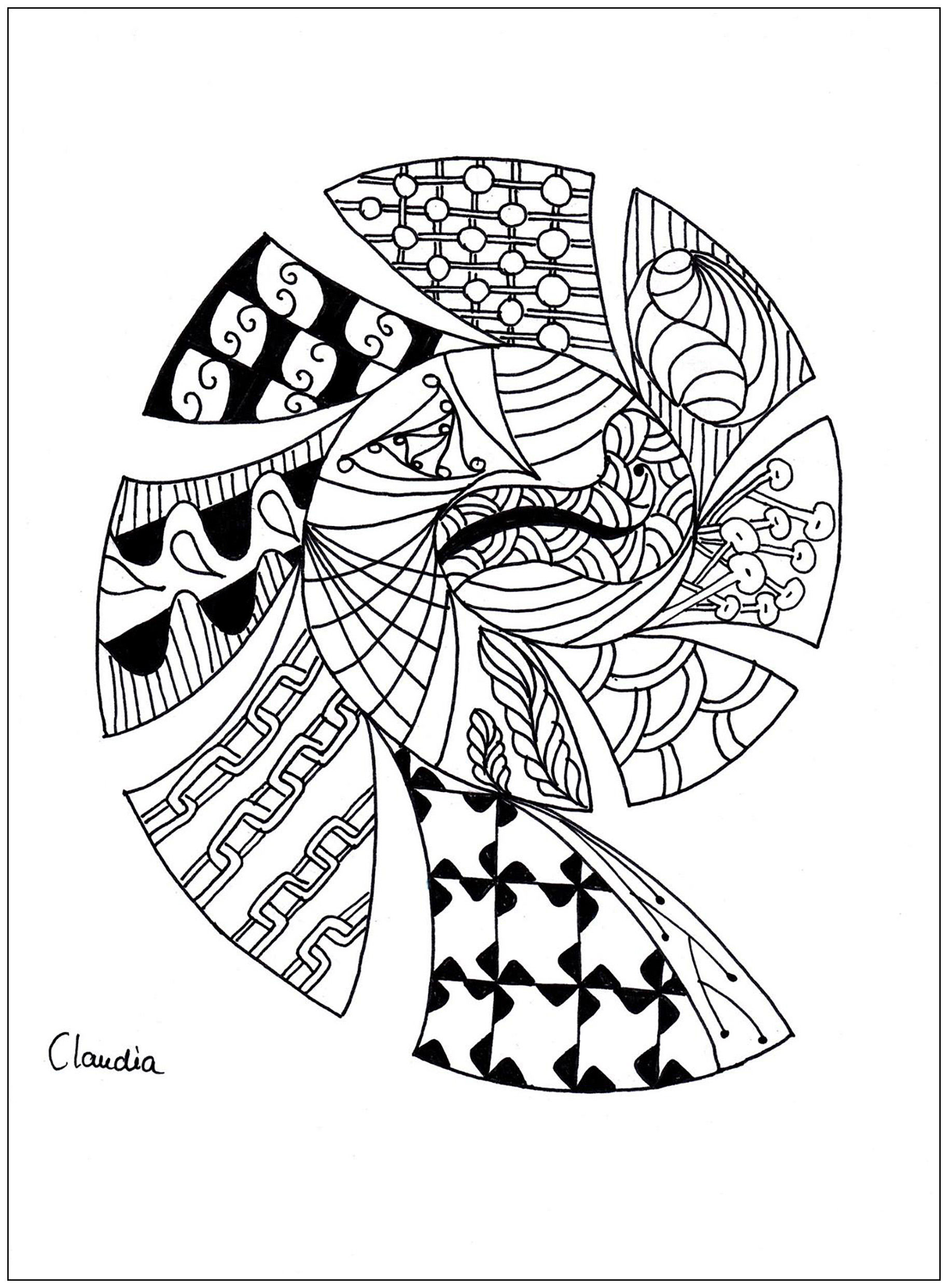 Zentangle Simple 1 Zentangle Coloriages Difficiles