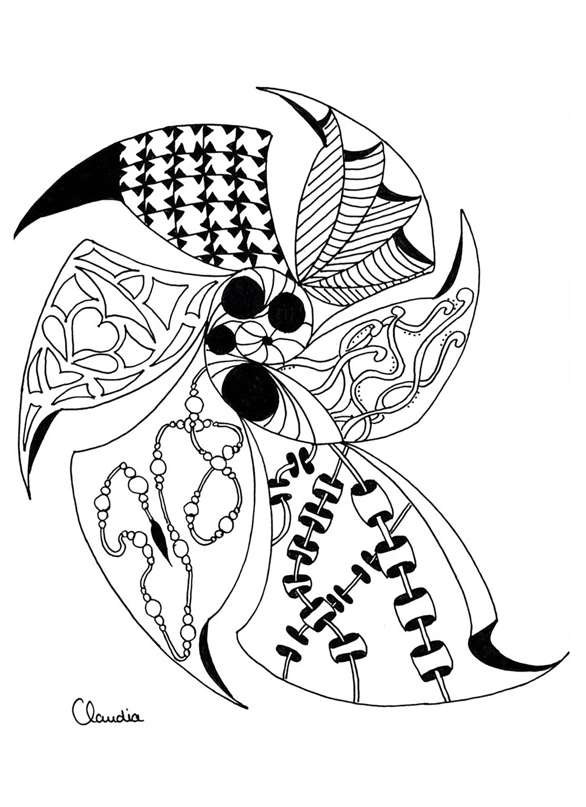 Zentangle abstrait aux motifs variés