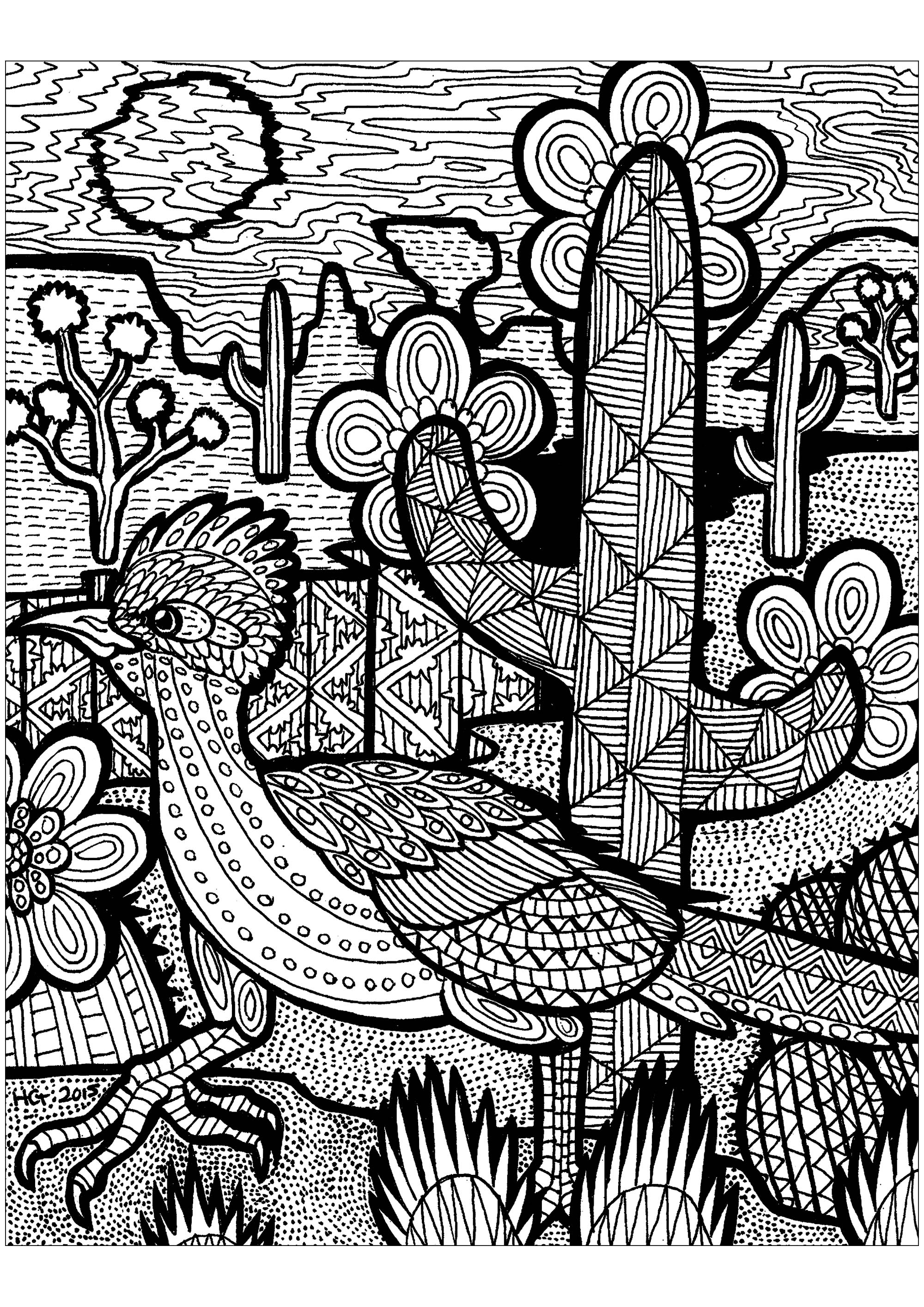 Il ne manque que quelques couleurs à ce bel oiseau pour trouver sa route dans le desert.
