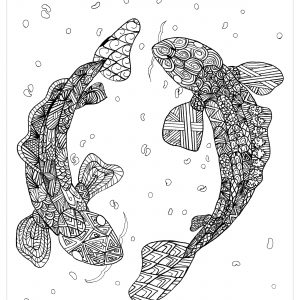 Coloriage zentangle carpe koi par chloe