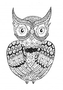 Coloriage adulte hibou zentangle rachel