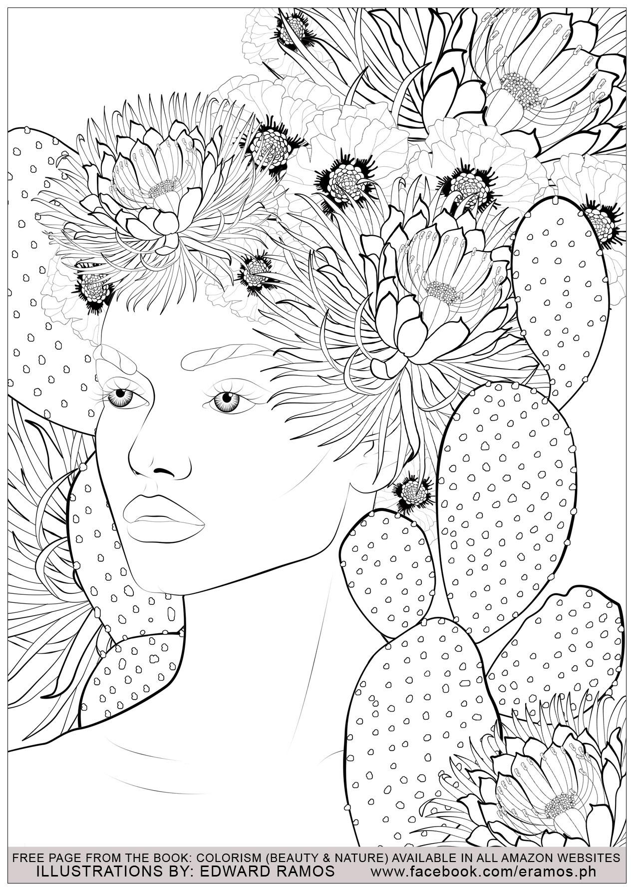 Disegni da colorare per adulti : Anti-stress / Zen - 6 - Immagine comprendente : Donna