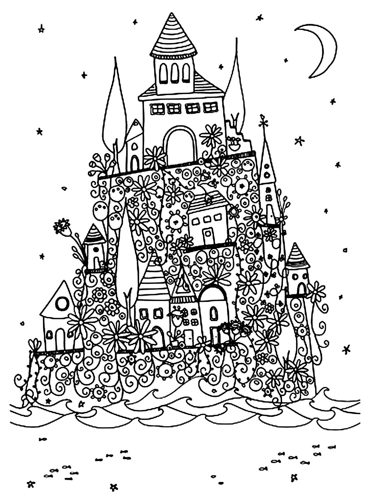 Disegni da colorare per adulti : Architettura & casa - 14