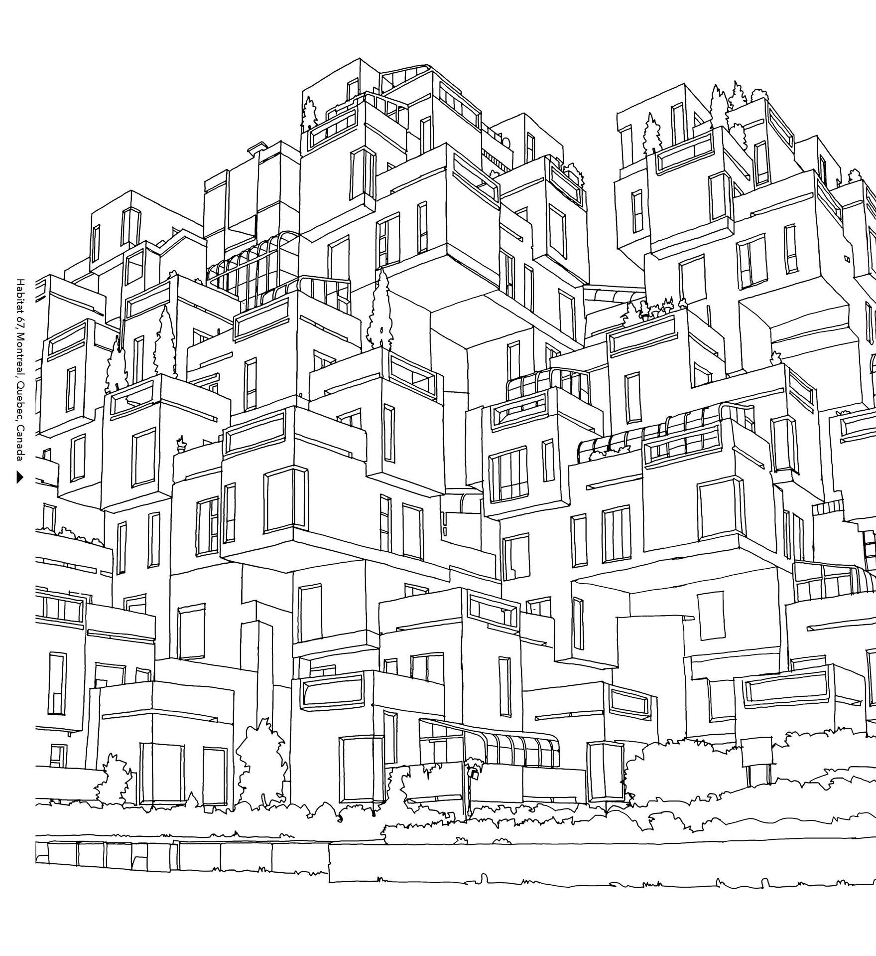 Disegni da colorare per adulti : Architettura & casa - 55 - Immagine comprendente : Canada
