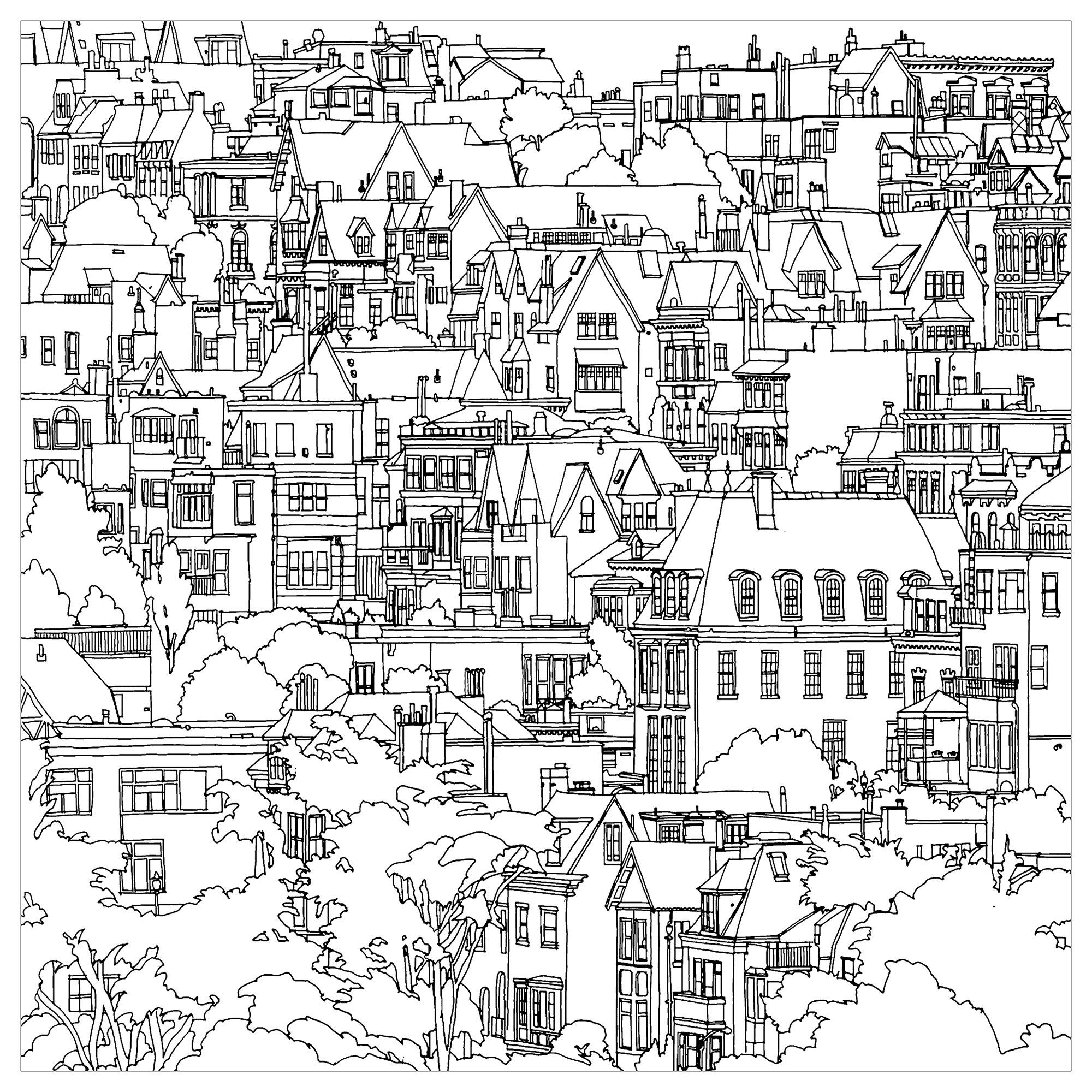 Disegni da Colorare per Adulti : Architettura & casa - 1