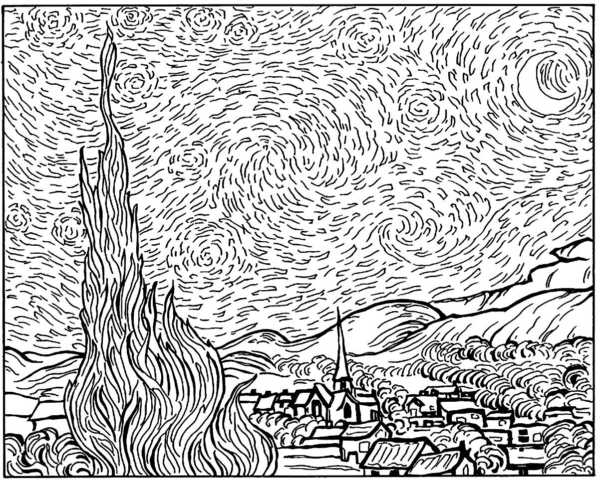 Coloriage Van Gogh Oliviersdisegni Da Colorare Per